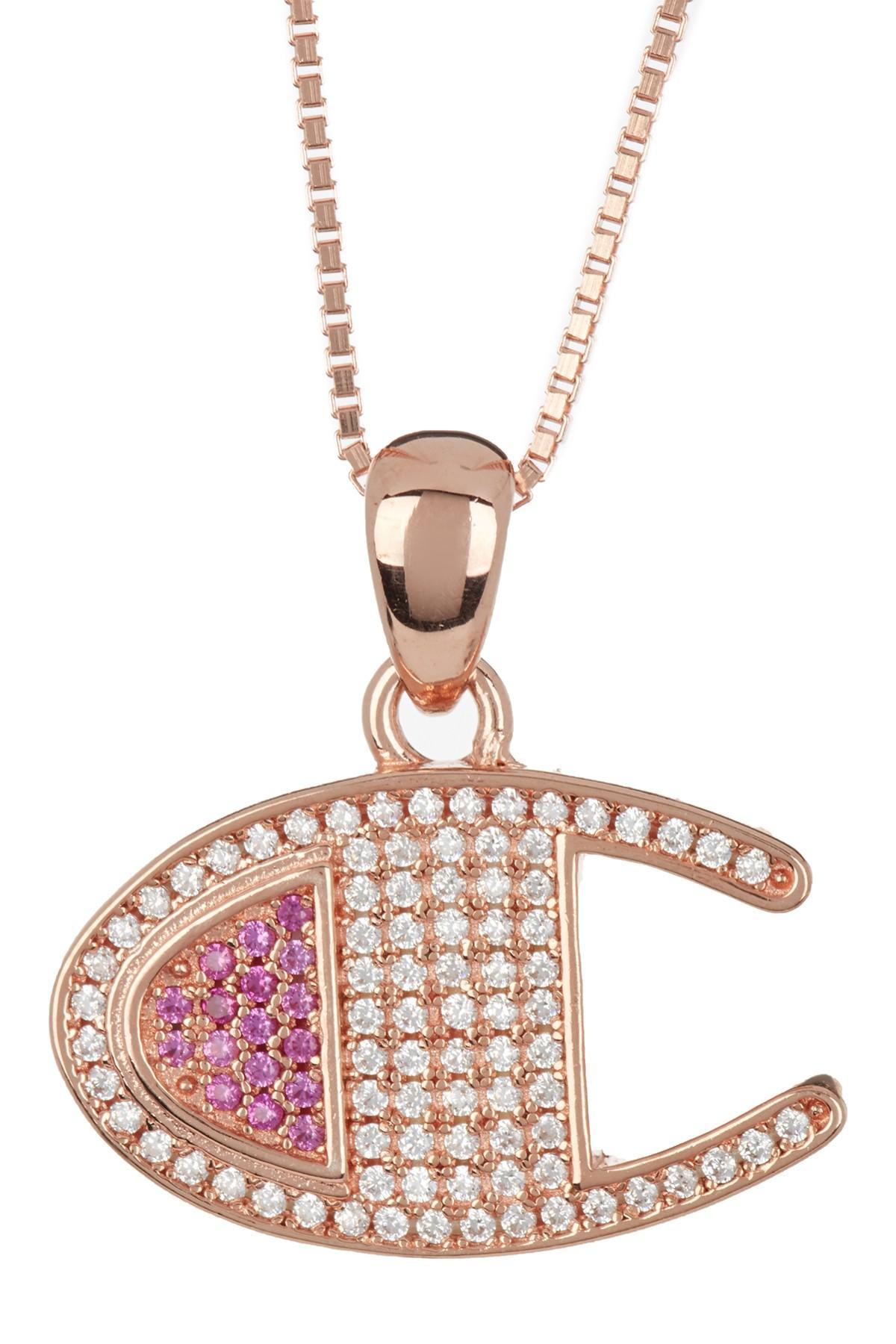 c57d28e092a78 Champion. Men's Metallic Vermeil Heritage Cz Pave Pendant Necklace