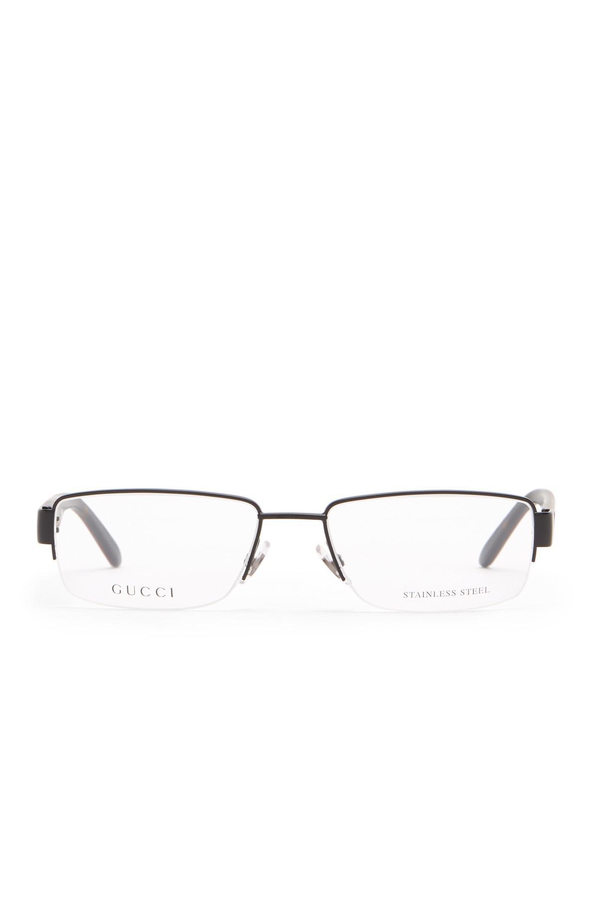 8fa50ee09b5 Lyst - Gucci 53mm Semi-rimless Rectangular Optical Frames in Brown