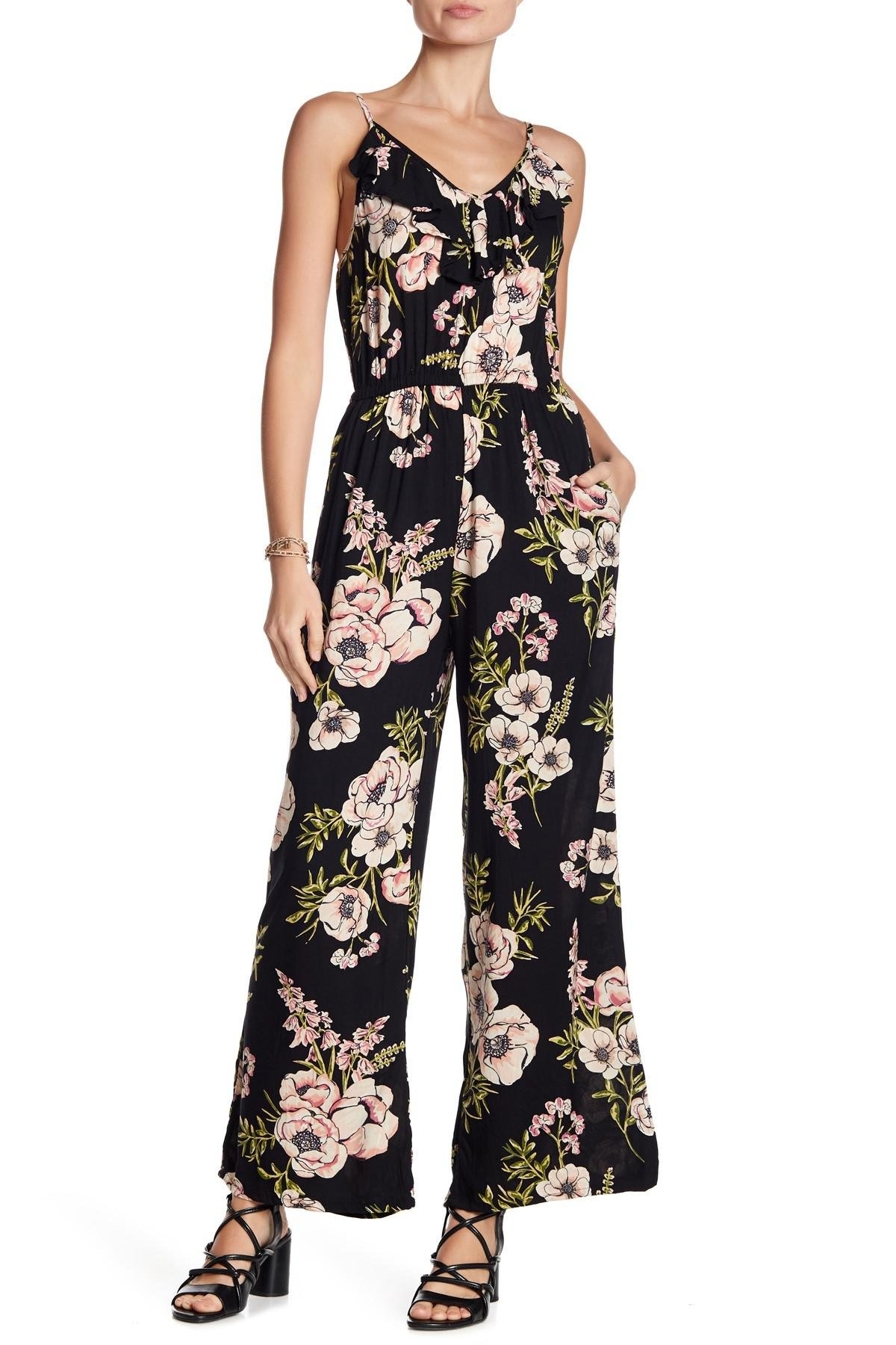 45a7ad73d6f3 Lyst - Angie Floral Ruffle Wide Leg Jumpsuit in Black