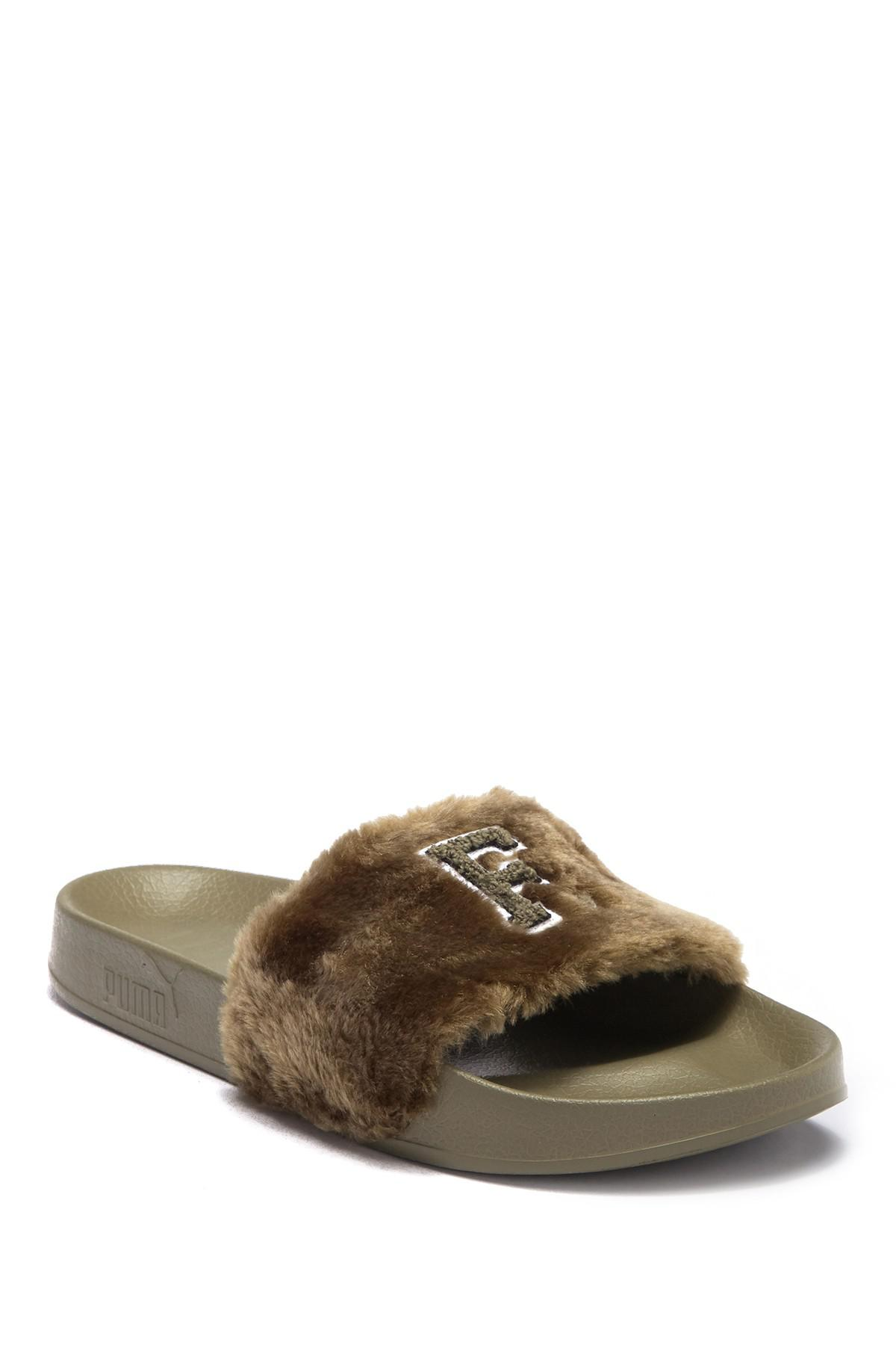 26c5506abfe2 Lyst - Puma Fenty By Rihanna Faux Fur Leadcat Slide Sandal in Green ...
