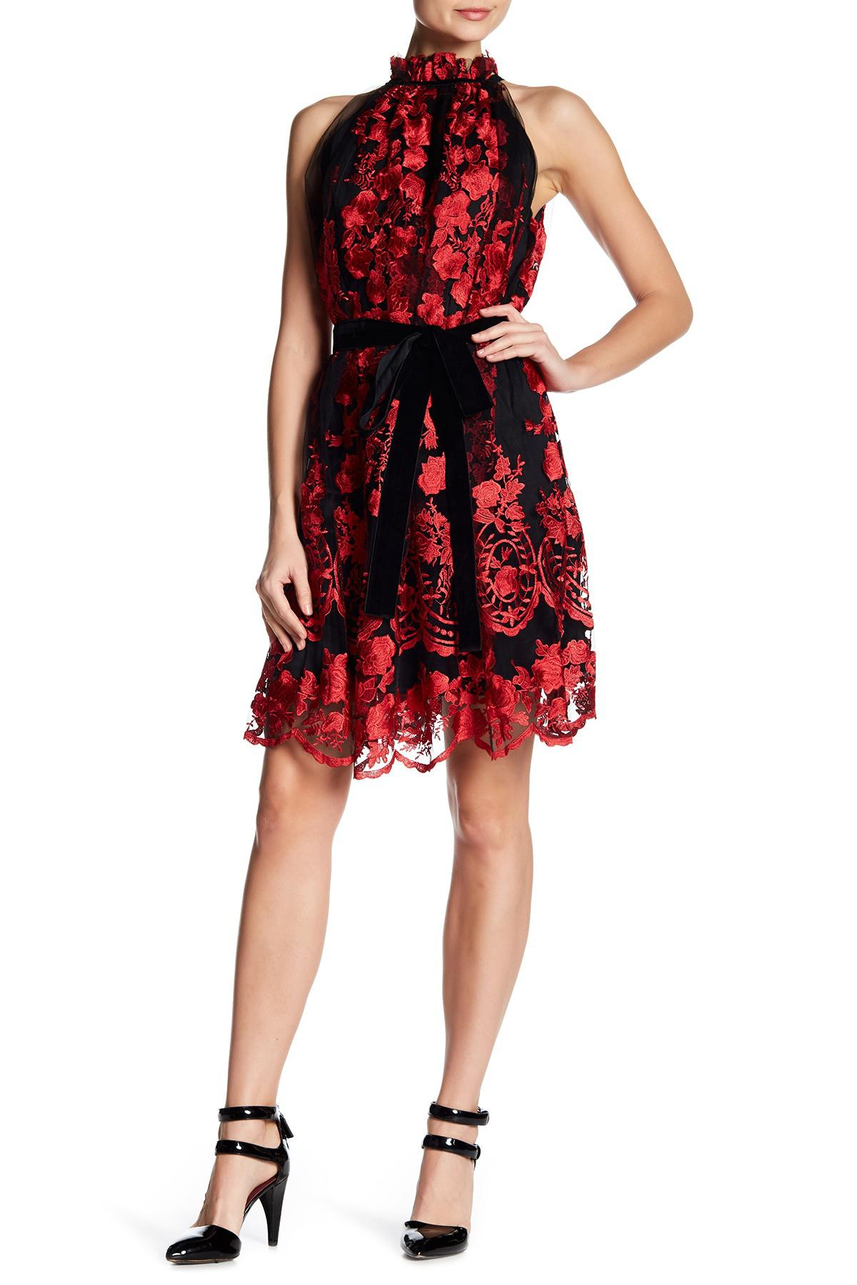 299da87e Alexia Admor Floral Embroidered Ruffle Dress in Red - Lyst