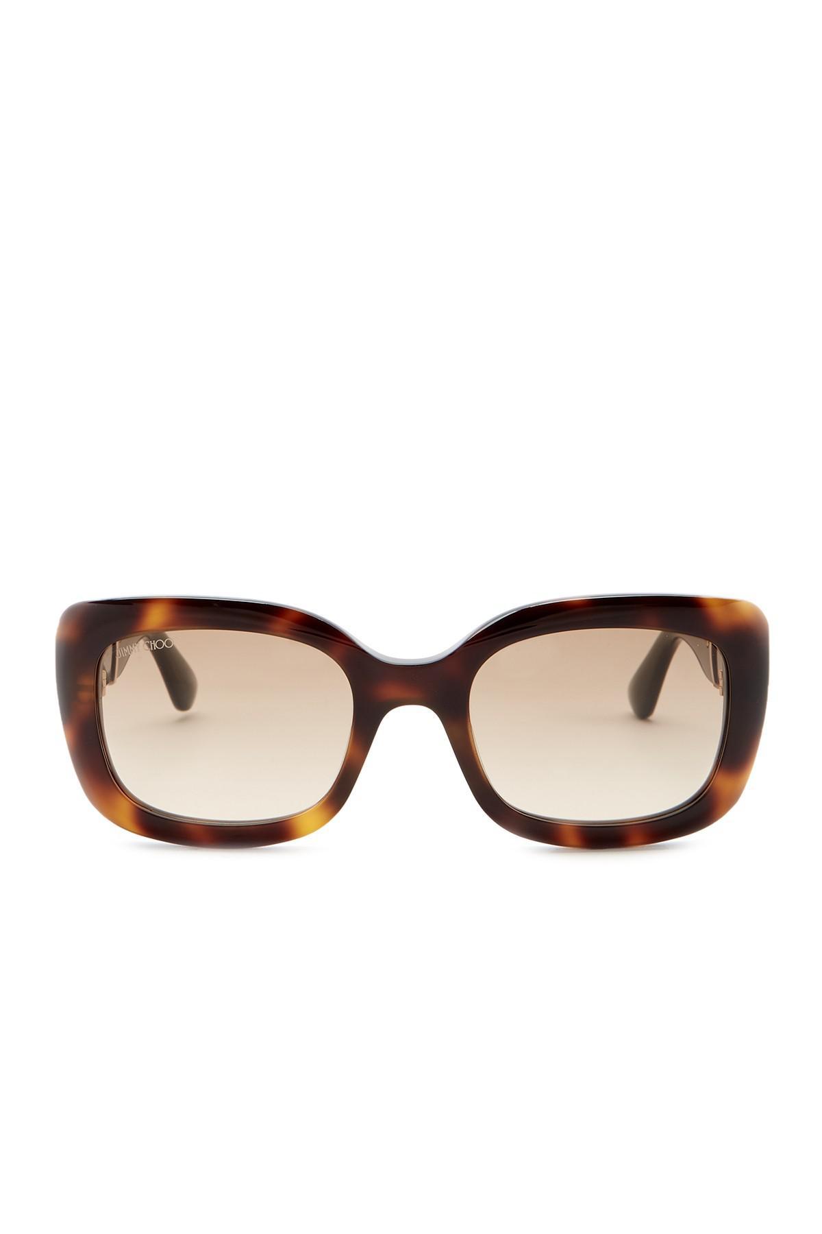 b2ca2fe37f Lyst - Jimmy Choo Vinns 51mm Rectangle Sunglasses in Brown