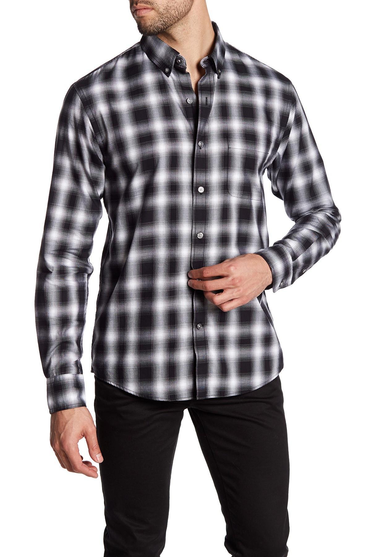 lands end plaid sleeve regular fit shirt in black