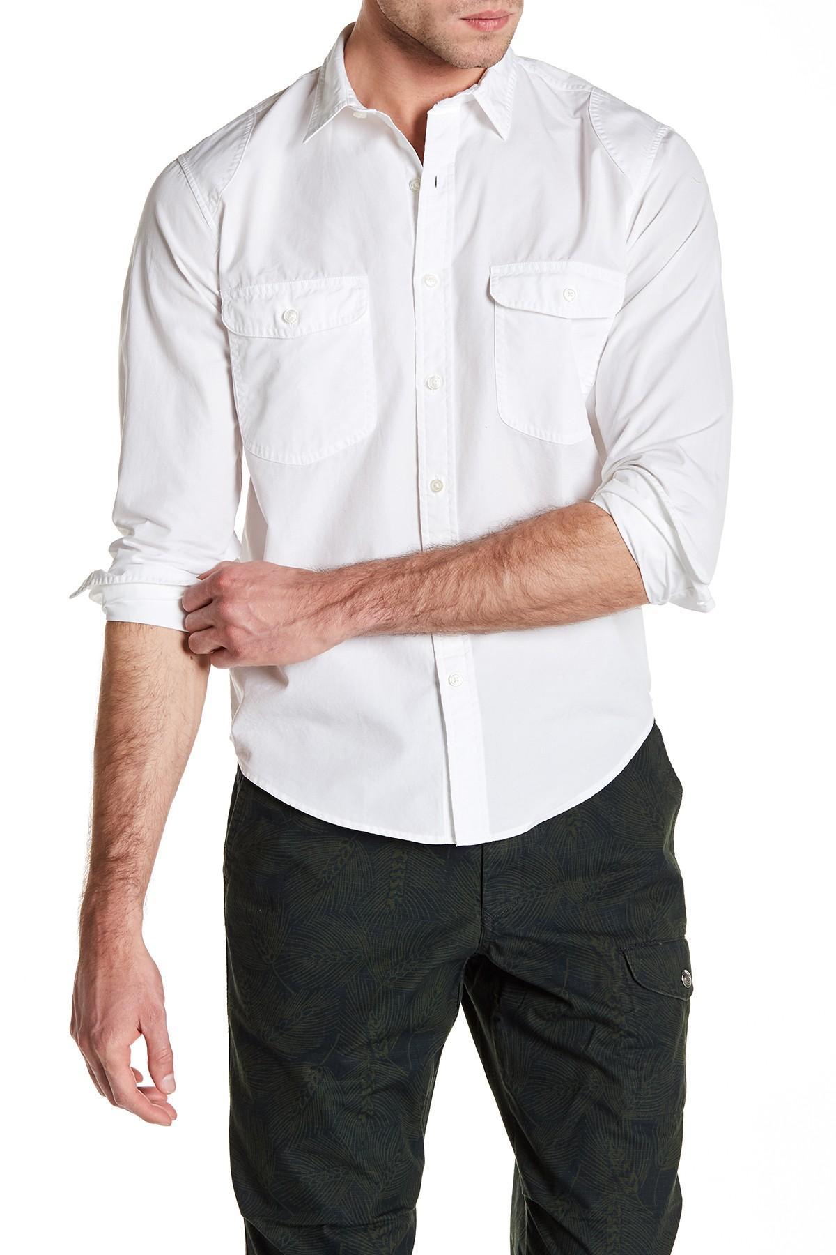 Lyst lands 39 end canvas long sleeve regular fit shirt in for Regular fit dress shirt