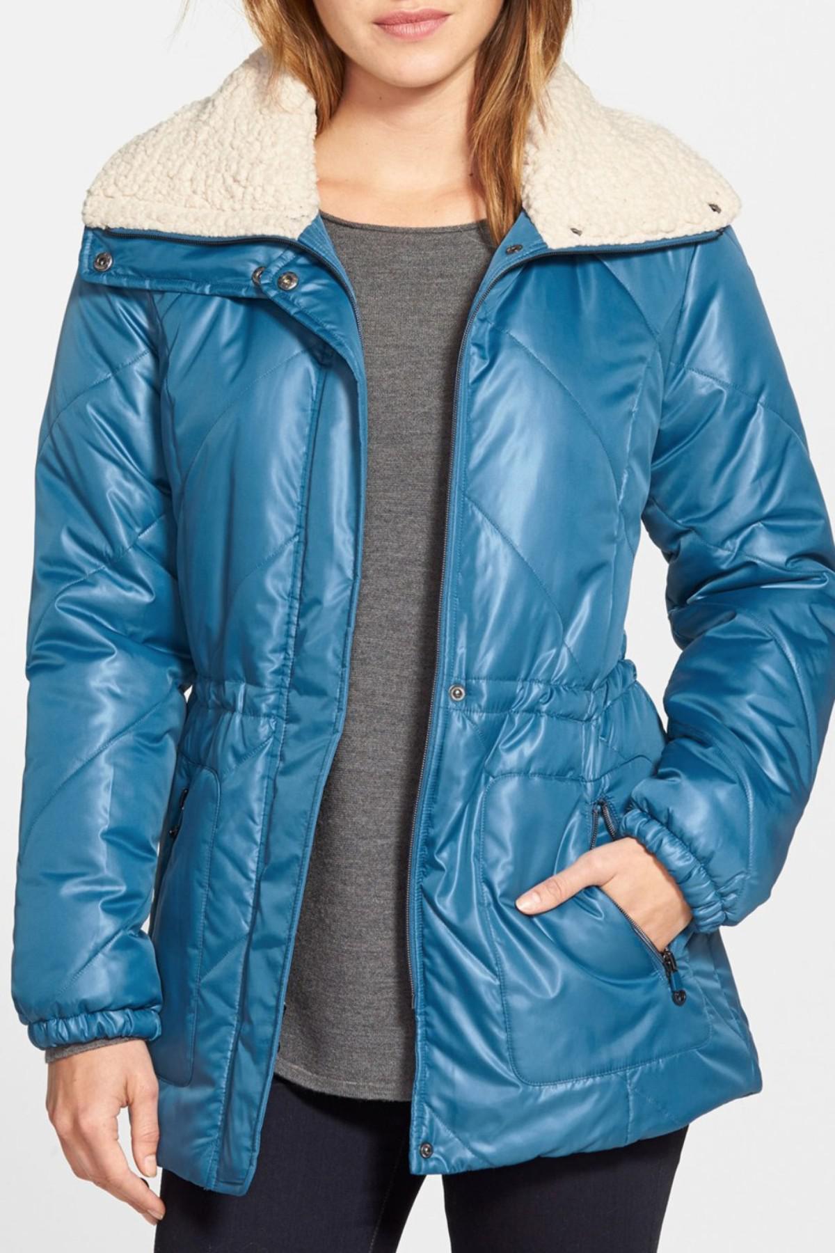 85af401a14a Lyst - Kenneth Cole Faux Shearling Trim Puffer Coat in Blue