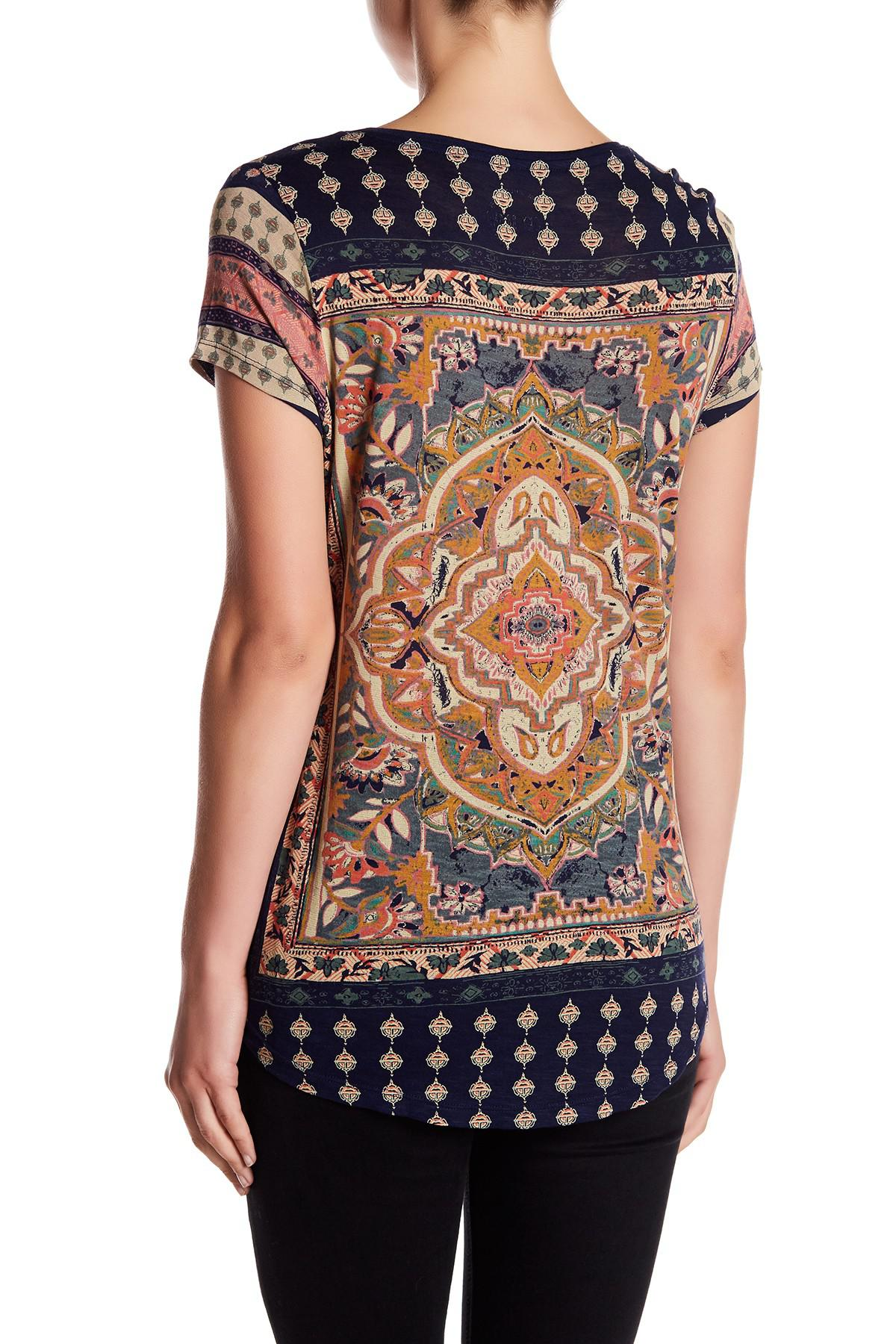 763cb400f9da4 Lyst - Lucky Brand Persian Carpet Tee in Blue
