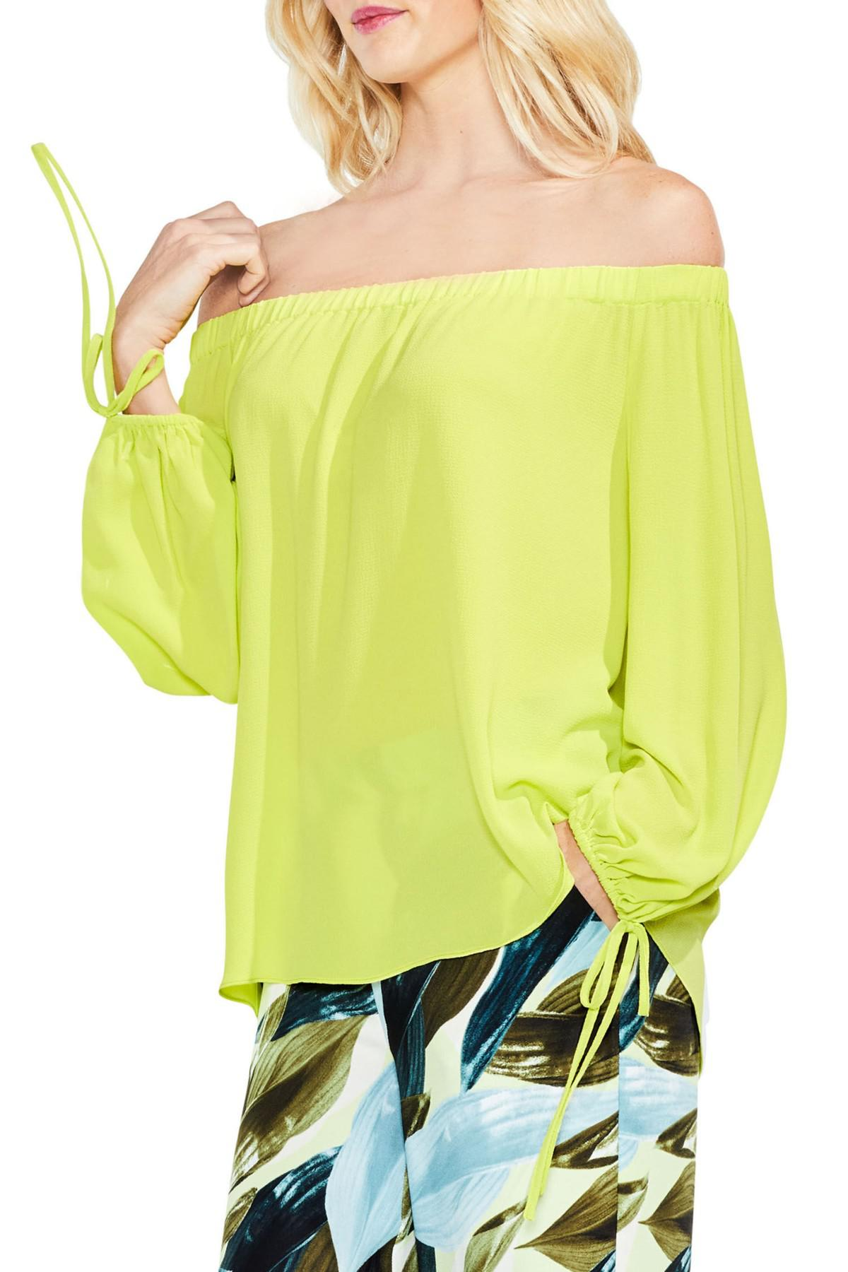 f7ddb4d62ed59 Lyst - Vince Camuto Tie-cuff Off-the-shoulder Blouse in Yellow