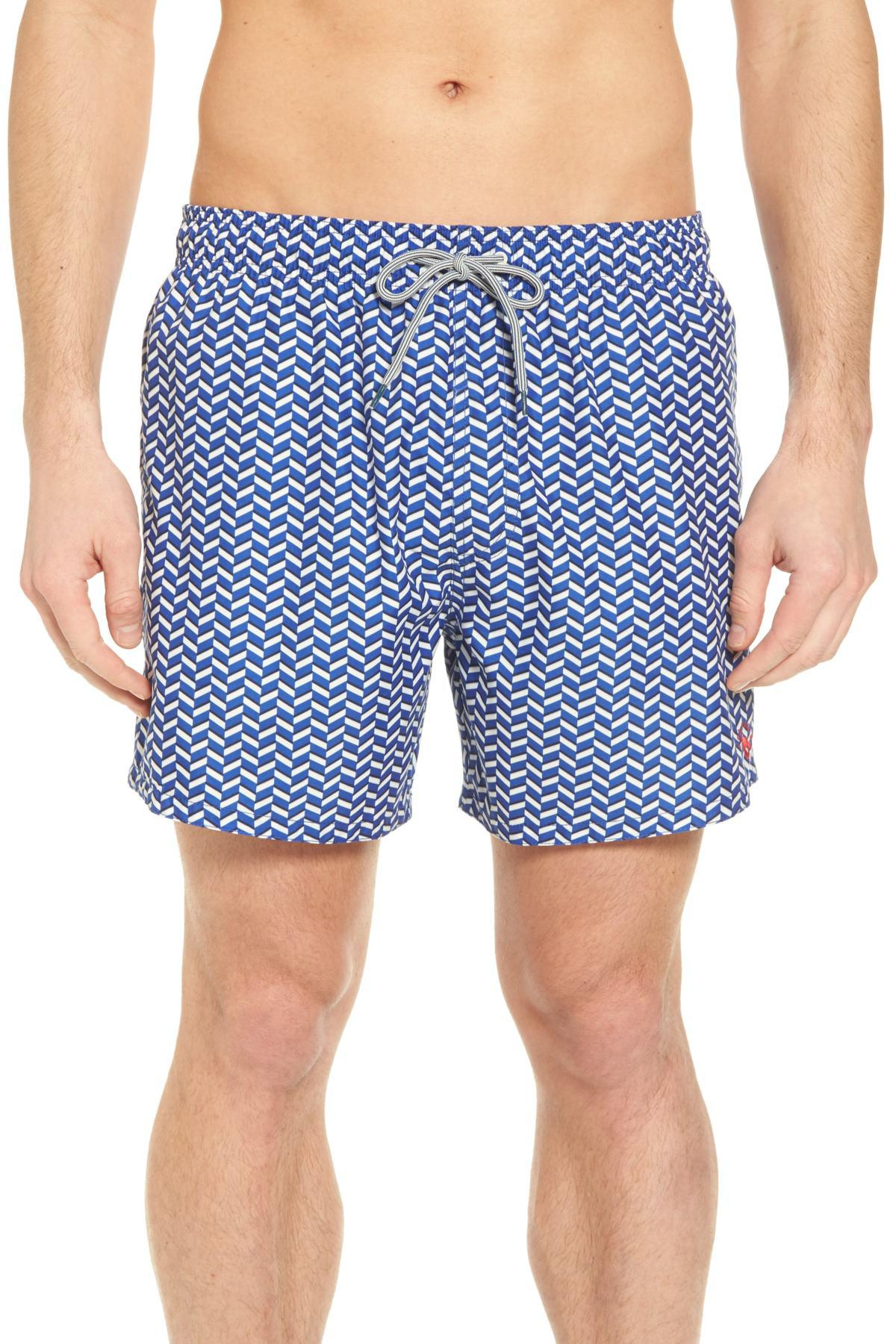 a493725f8fbe93 Lyst - Ted Baker Caven Geo Print Swim Trunks in Blue for Men - Save ...
