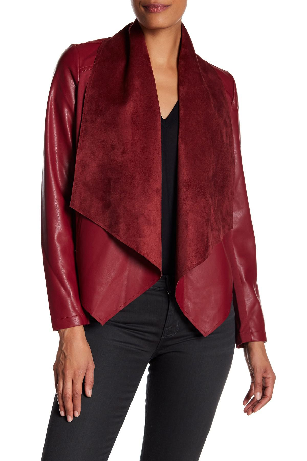Kut From The Kloth Ana Faux Leather Drape Front Jacket In