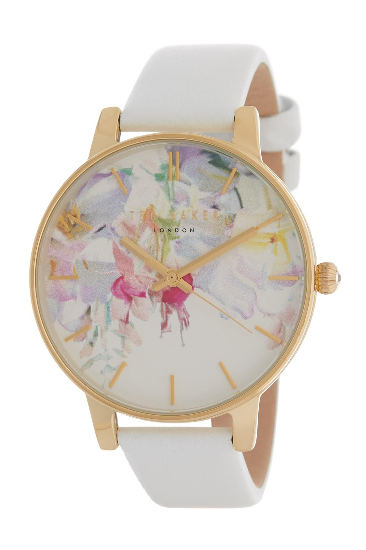 96cad6e6d7ae Lyst - Ted Baker Women s Floral Dial Leather Strap Watch