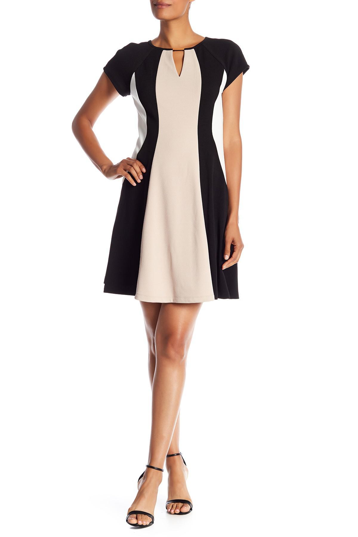 35c06bc7b53f1 Lyst - Sandra Darren Short Sleeve Colorblock Dress in Black