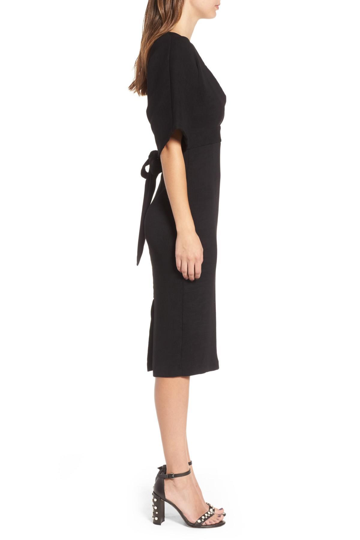 302278bd36 Lyst - TOPSHOP Textured Plunge Midi Dress in Black