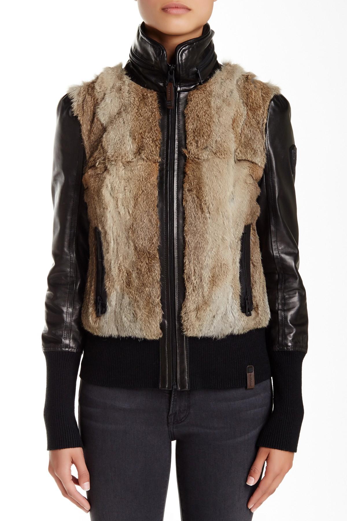 35a2558b9016d Lyst - Rudsak Genuine Rabbit Fur   Leather Bomber in Black