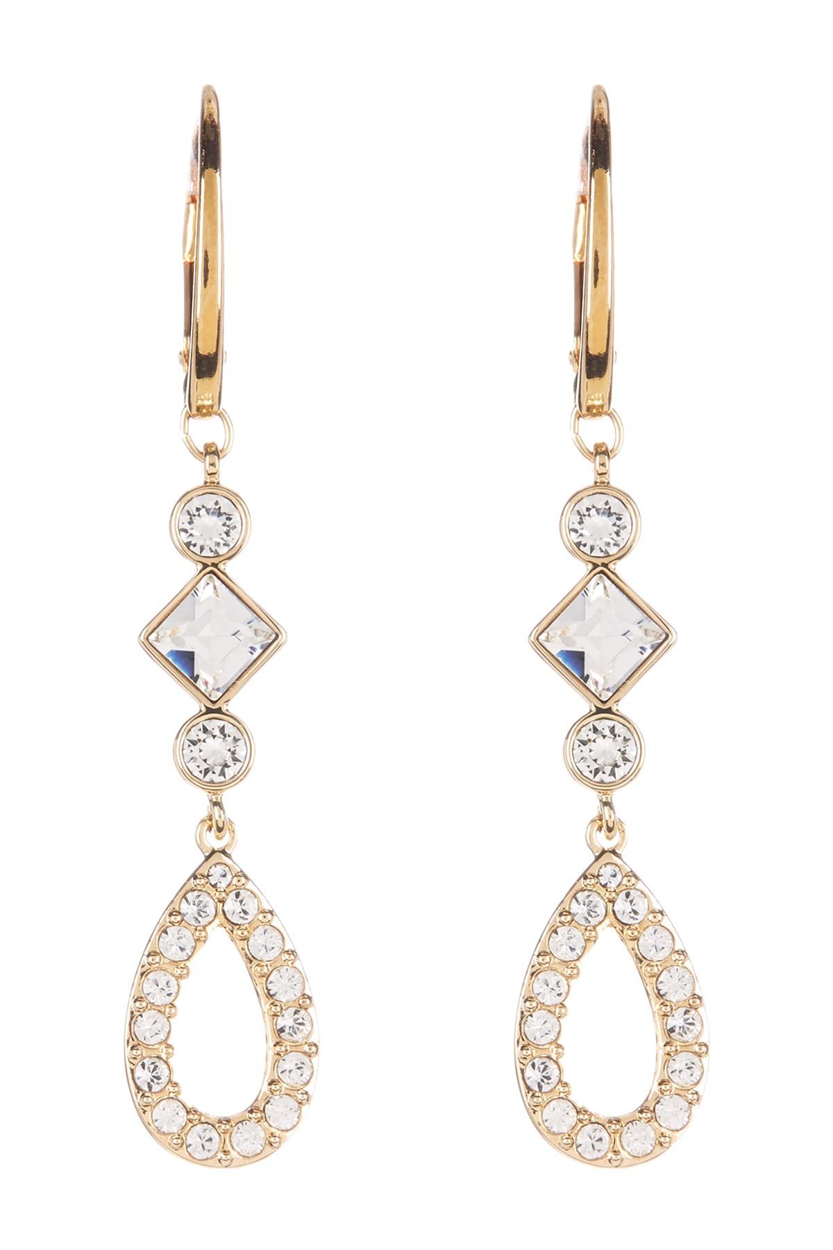 Lyst swarovski arachide crystal dangle earrings in white for Swarovski jewelry online store