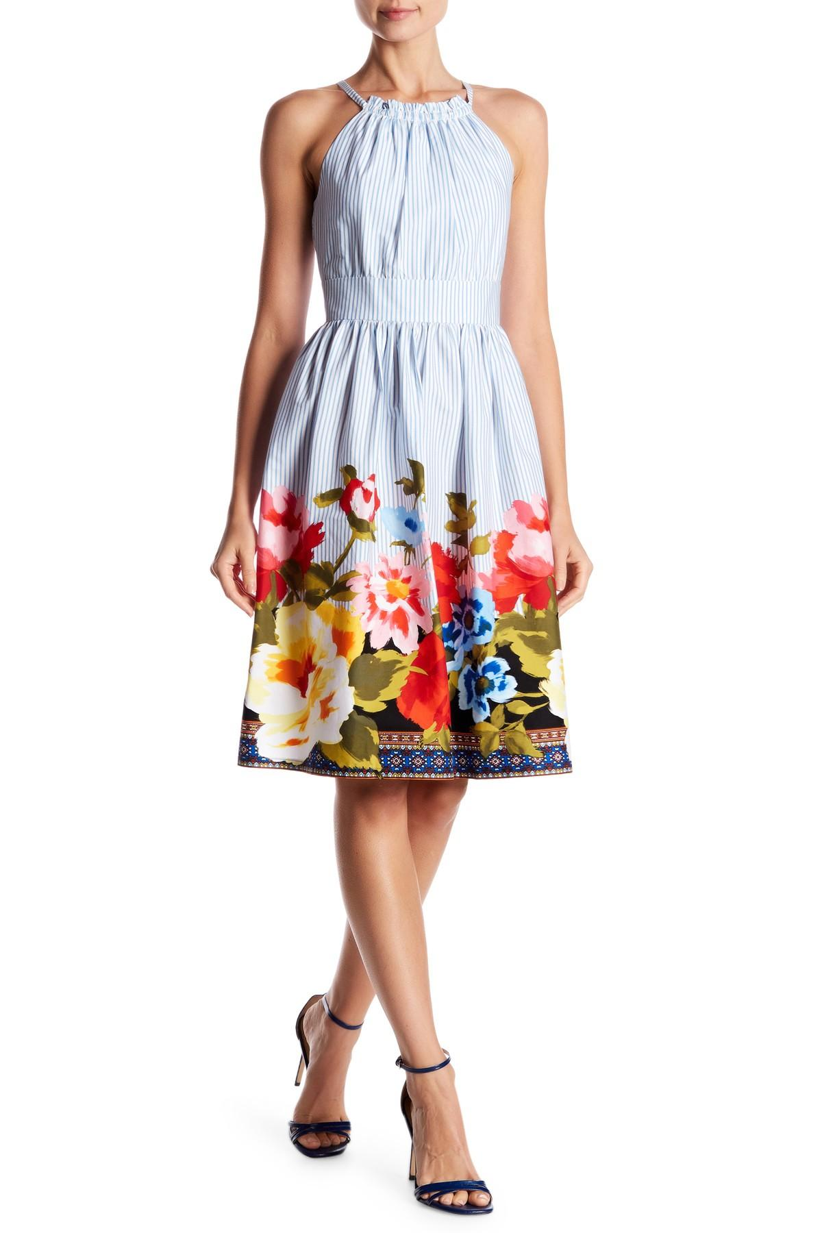 1c9e11aafa3b Vince Camuto Striped Floral Fit & Flare Dress in Blue - Lyst
