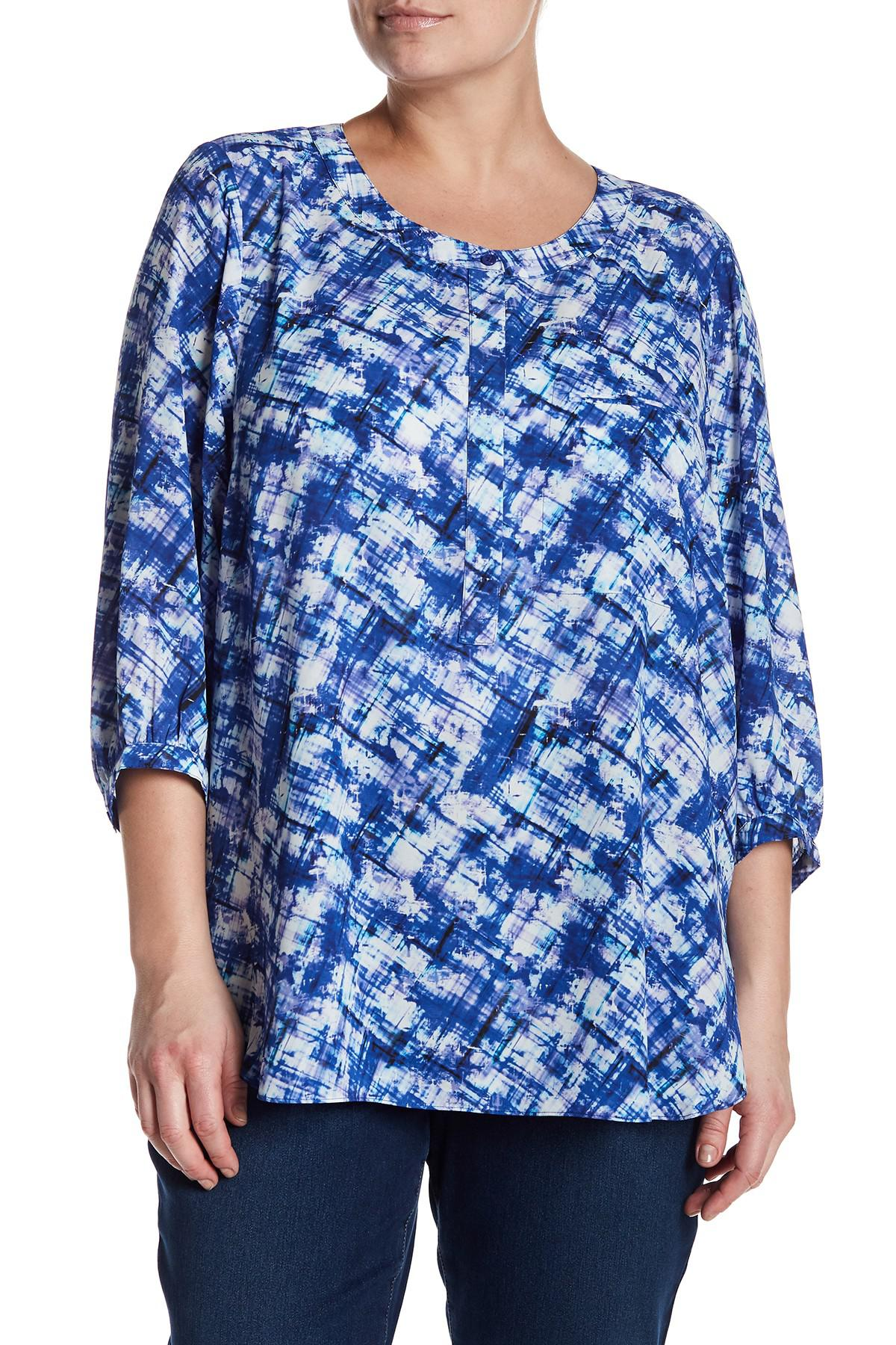 9abfc324a3b Lyst - Nydj Crepe Henley Blouse (plus Size) in Blue