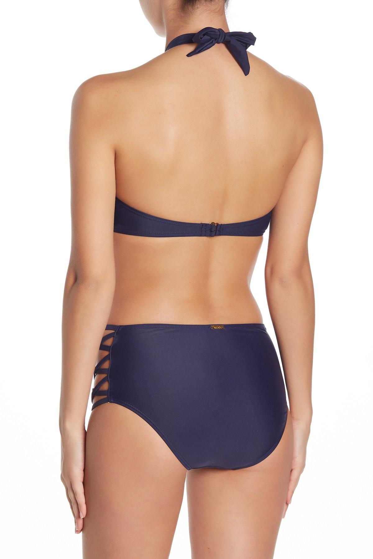 top Blue criss cross bikini