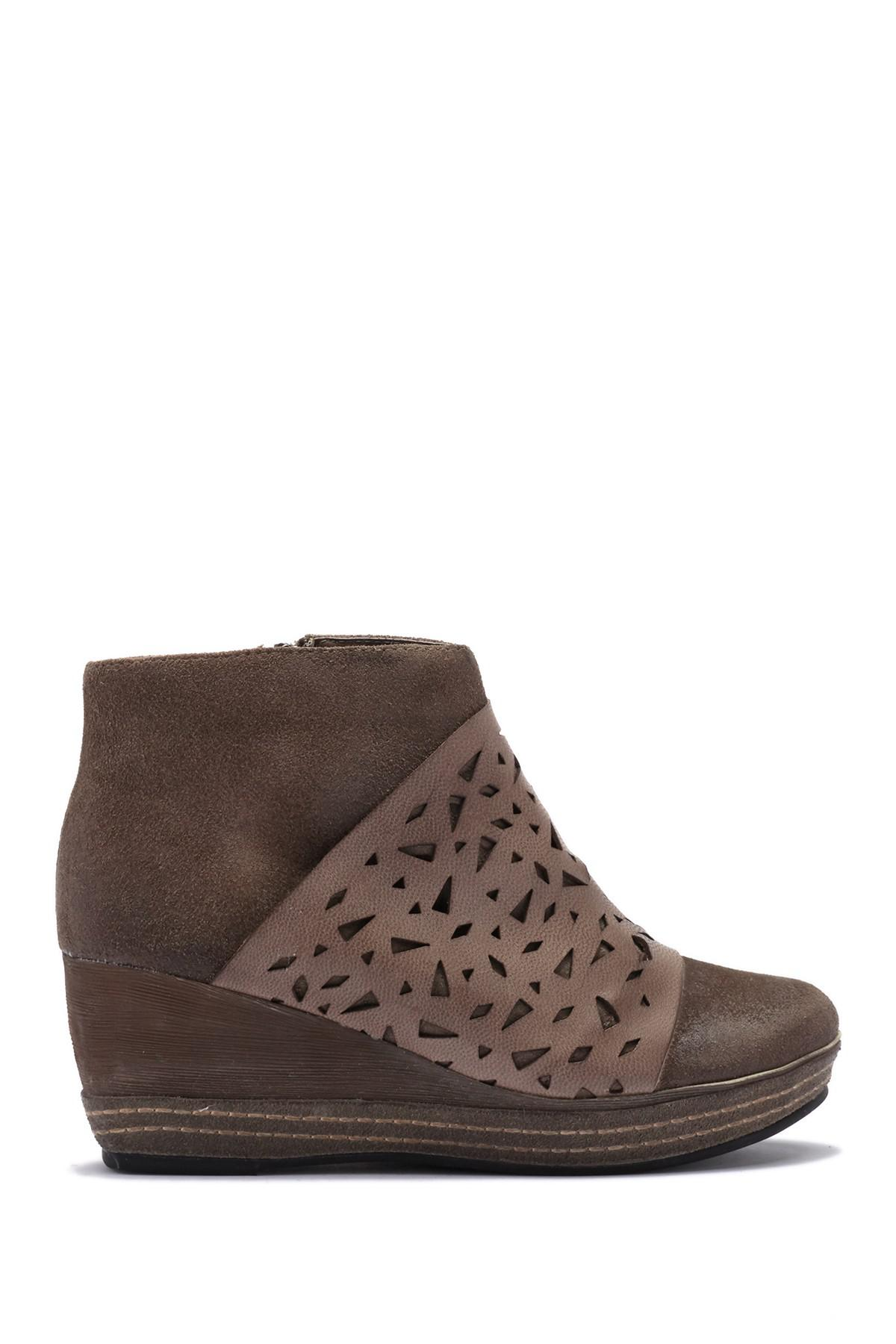 e508df9e655c Lyst - Antelope Lasercut Leather Wedge Bootie in Gray
