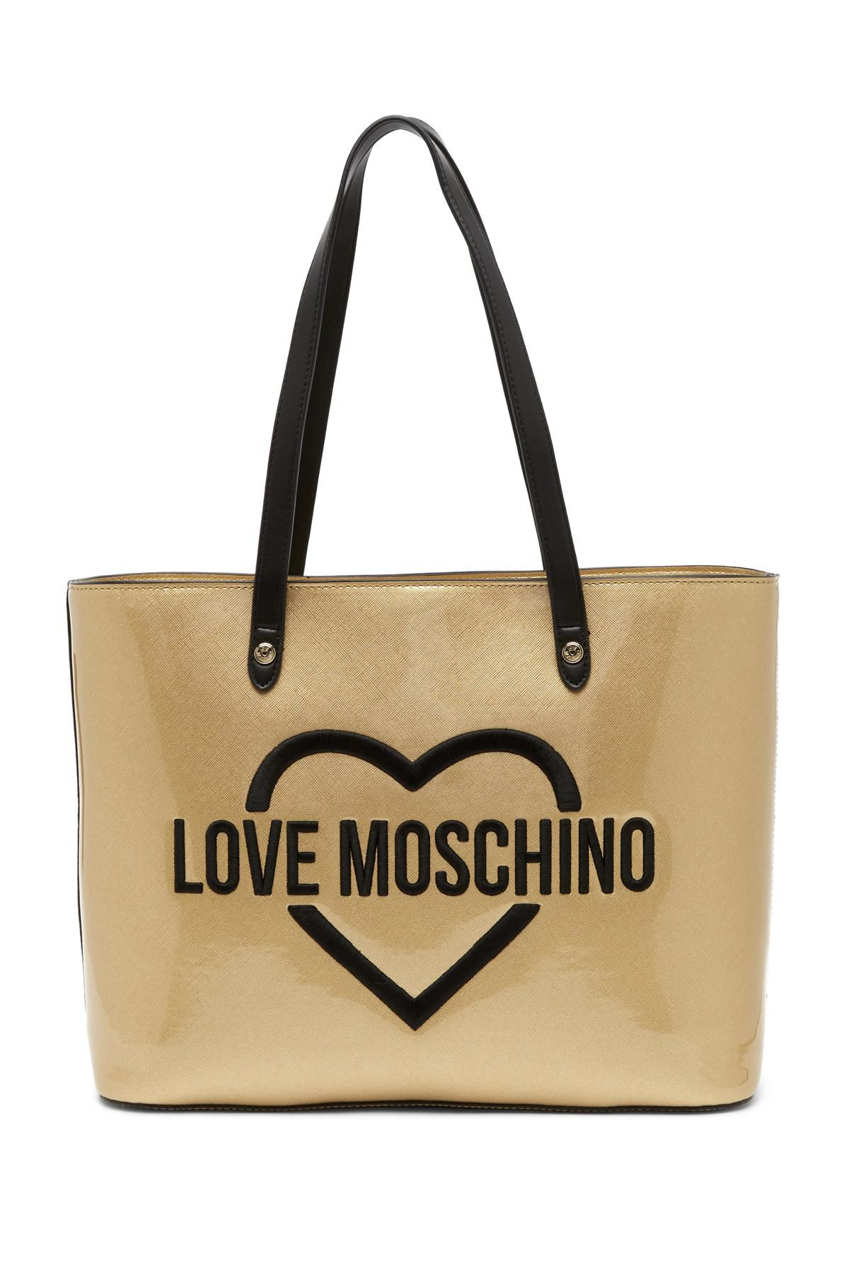 544a69aa8954 Love Moschino Logo Embroidered Patent Tote - Lyst