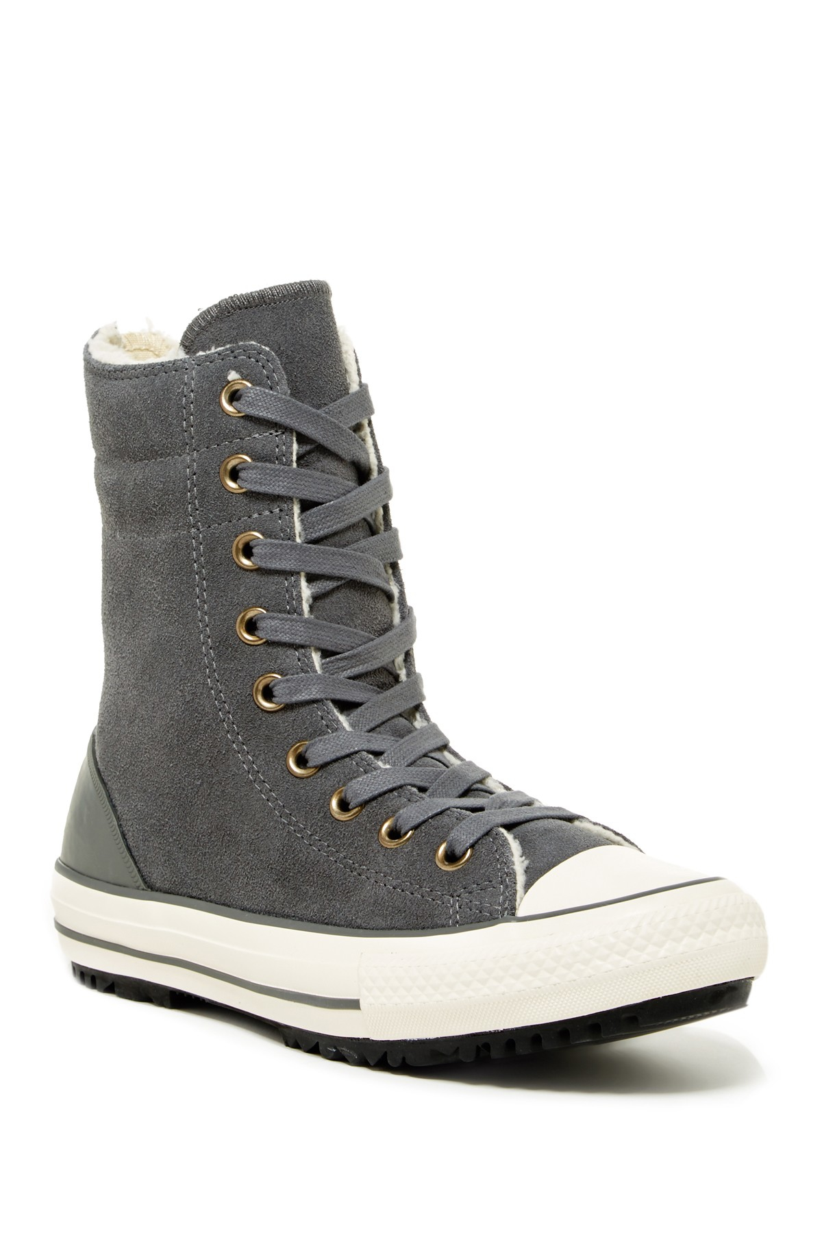 2df0bbea39cd Lyst - Converse Hi-rise Faux Shearling Lined Sneaker (women) in Gray