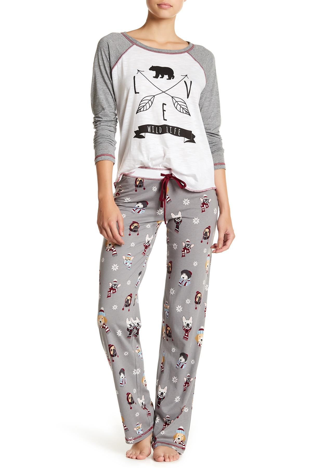 383f66db1 Lyst - Pj Salvage Bundled Dog Print Drawstring Pants in Gray