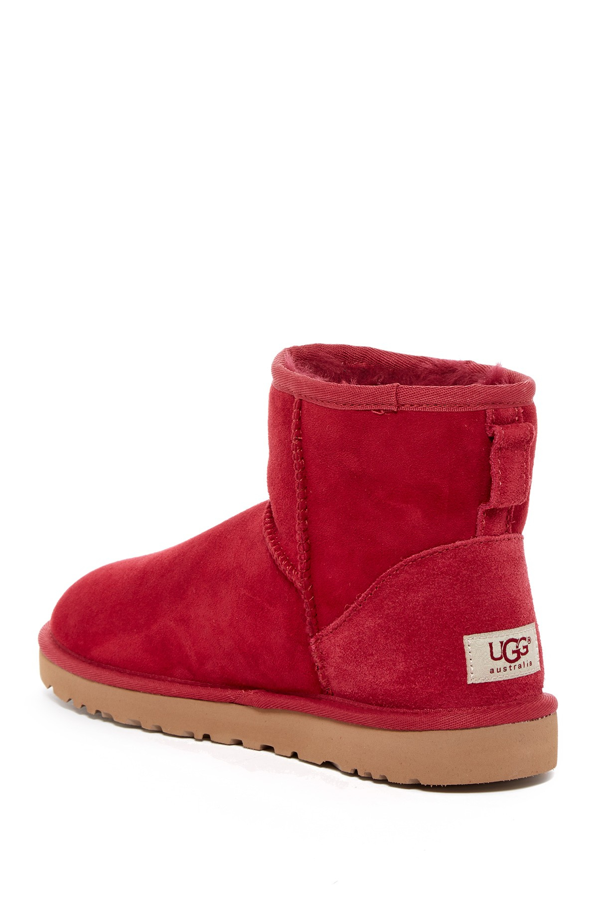 2606273d11d Lyst - UGG Classic Mini Dyed Genuine Lamb Fur Lined Boot in Red
