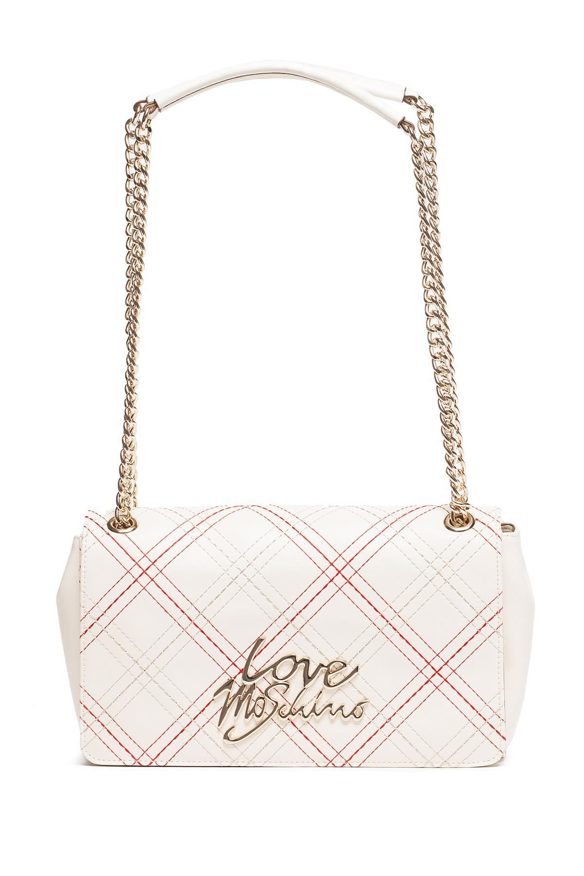 d43681f135f19 Lyst - Love Moschino Plaid Ivory Pu Shoulder Bag in White
