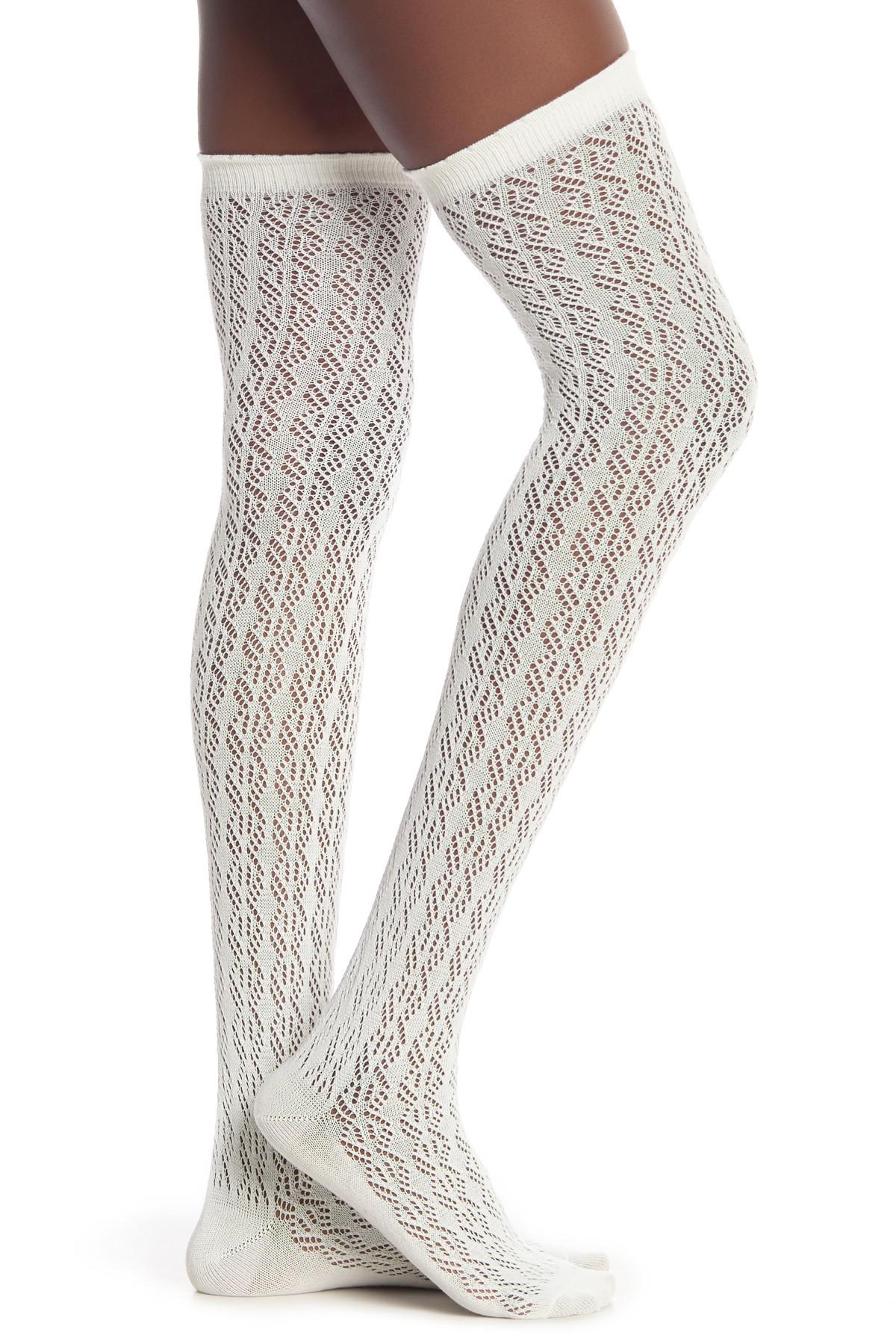 7313222213d Lyst - Steve Madden Diamond Crochet Over The Knee Length Socks ...