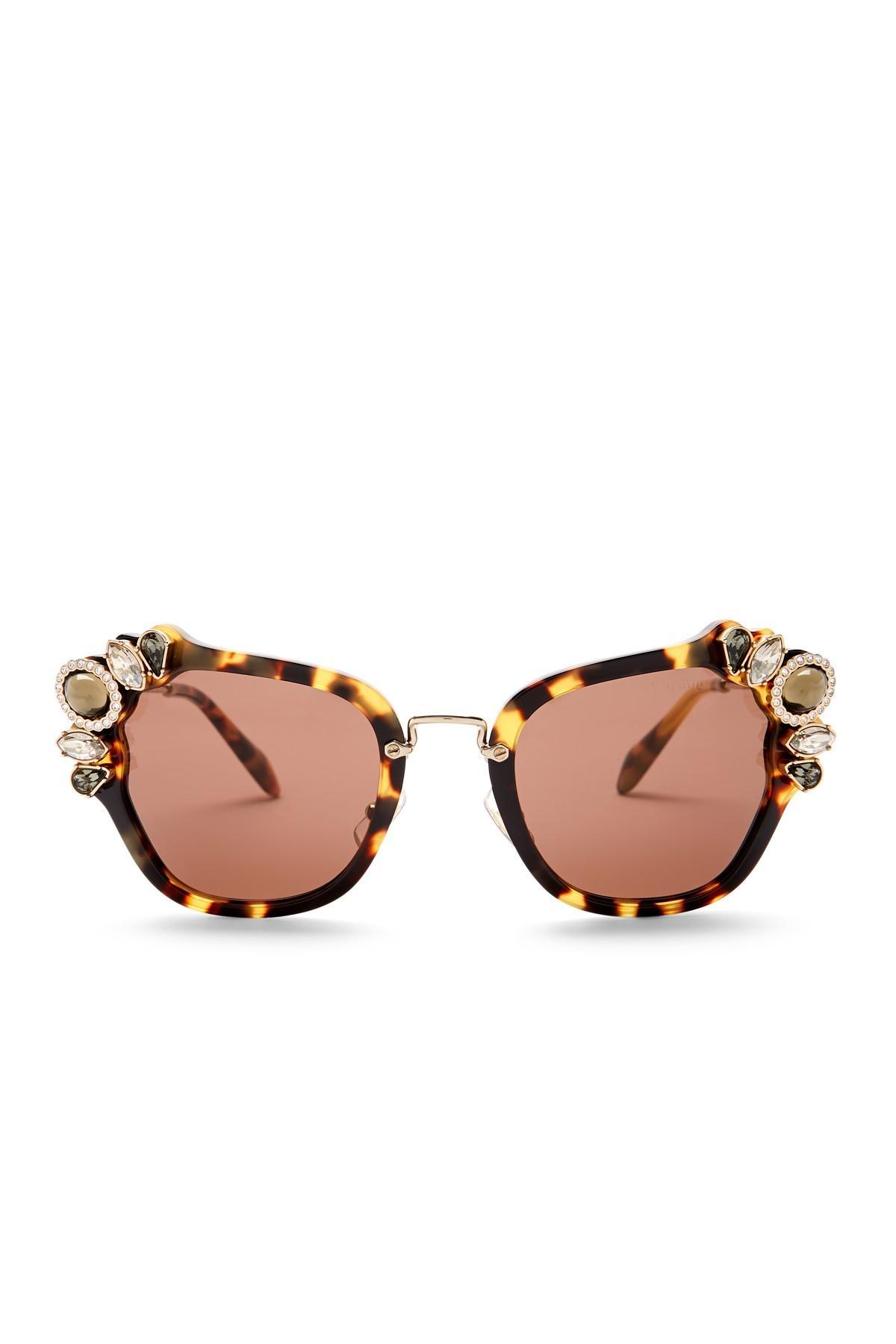 206b3dee68 Miu Miu Embellished Cat Eye 51mm Acetate Frame Sunglasses in Brown ...