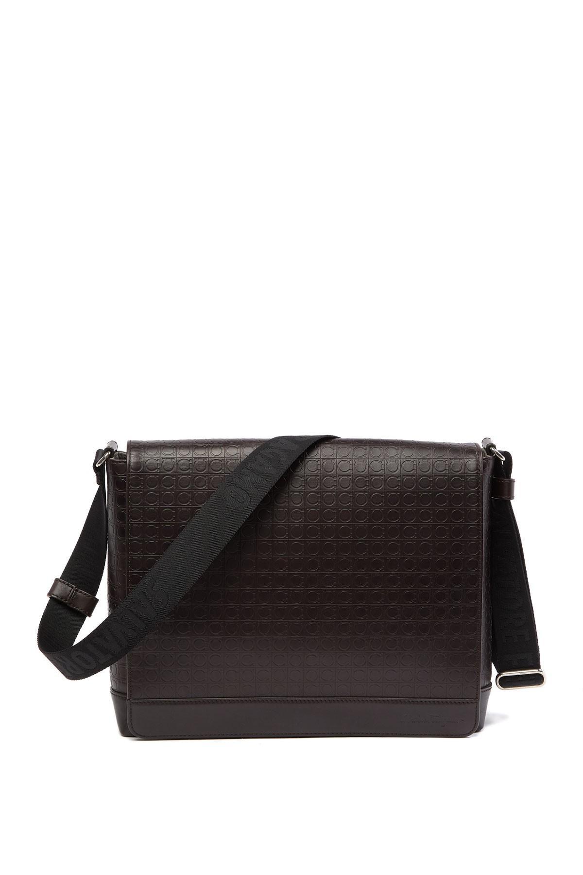 Lyst - Ferragamo Logo Embossed Leather Messenger Bag in Brown for Men f52e14d296374