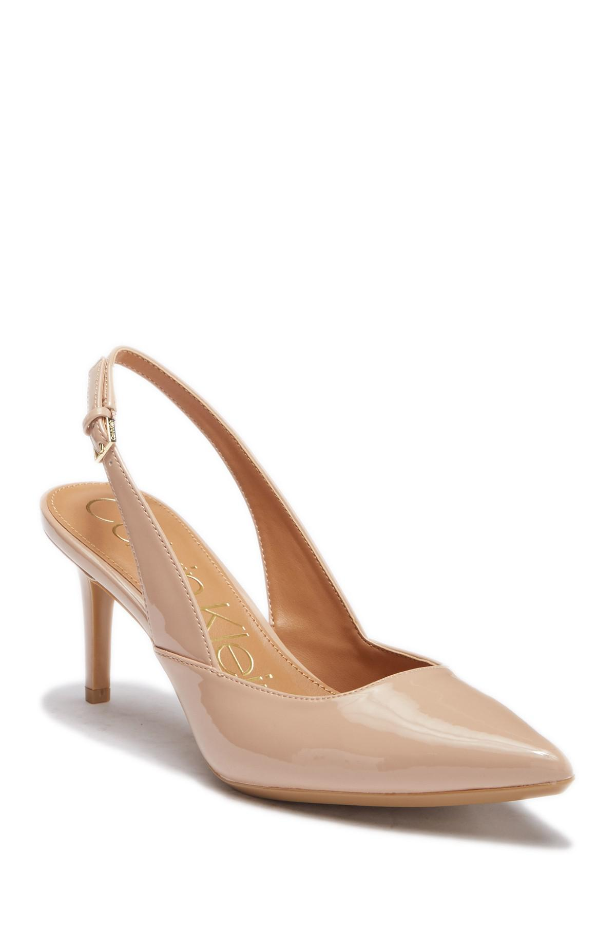 e1dbd37f04a Lyst - Calvin Klein Giona Patent Slingback Pump in Natural - Save 57%