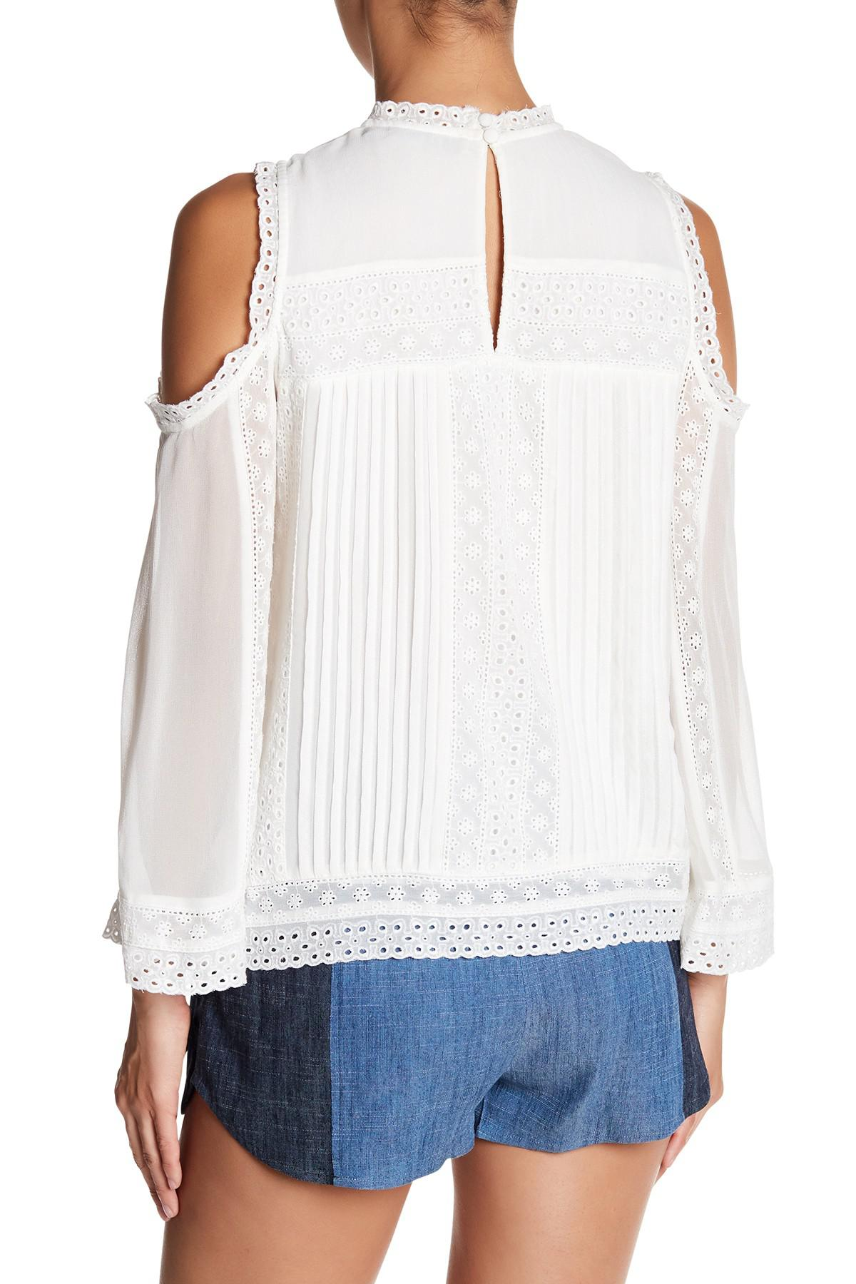 ed2bf5d7c2854 Lyst - Alice + Olivia Ofelia Embroidered Cold Shoulder Blouse in White