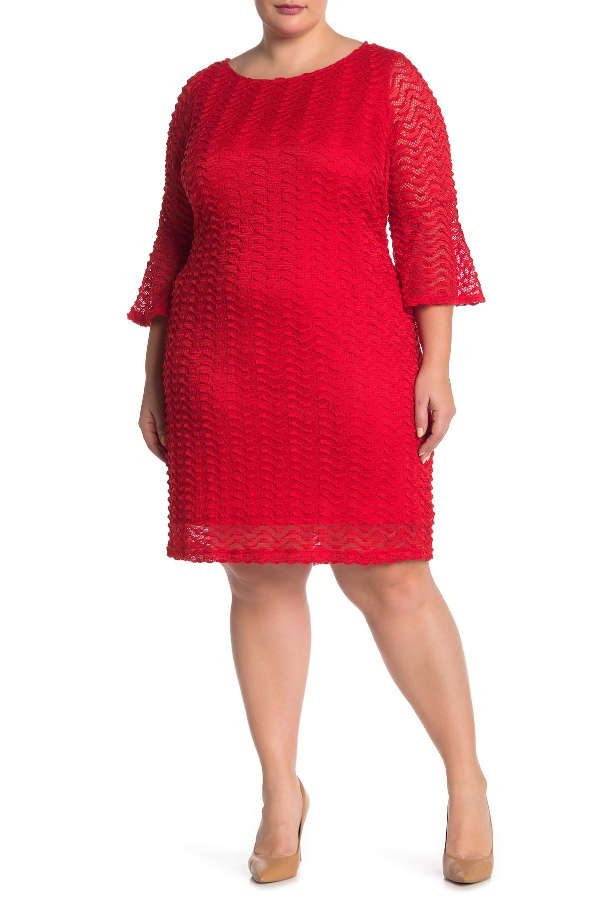 45c1967324b Lyst - Sharagano Textured Lace Bell Sleeve Dress (plus Size) in Red