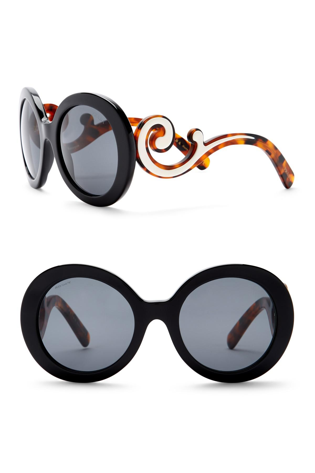 ba6daacac2 Prada Women s Round Catwalk Minimal Baroque 55mm Sunglasses in Black ...
