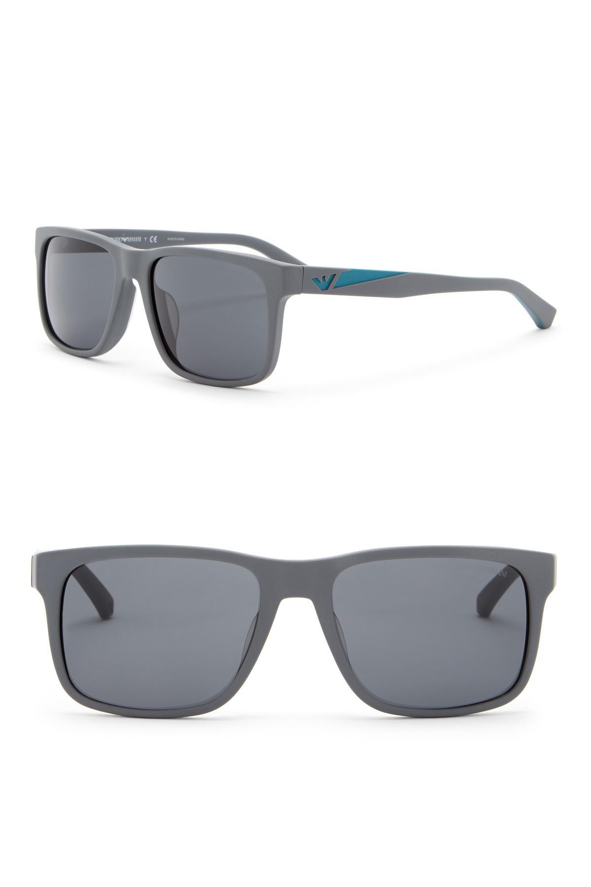 bf899cdc3398 Lyst - Emporio Armani 56mm Wayfarer Acetate Frame Sunglasses in Gray ...