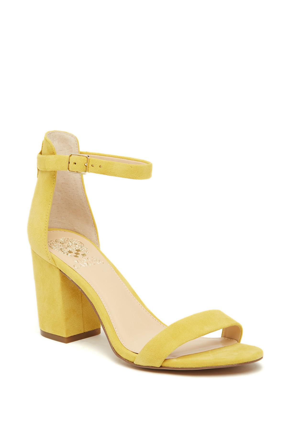 495a491231c Lyst - Vince Camuto Beah Block Heel Ankle Strap Sandal in Yellow