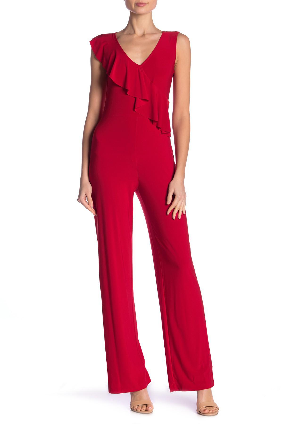 579d365b0e2f3 Lyst - Bebe Cascade Ruffle Jumpsuit in Red