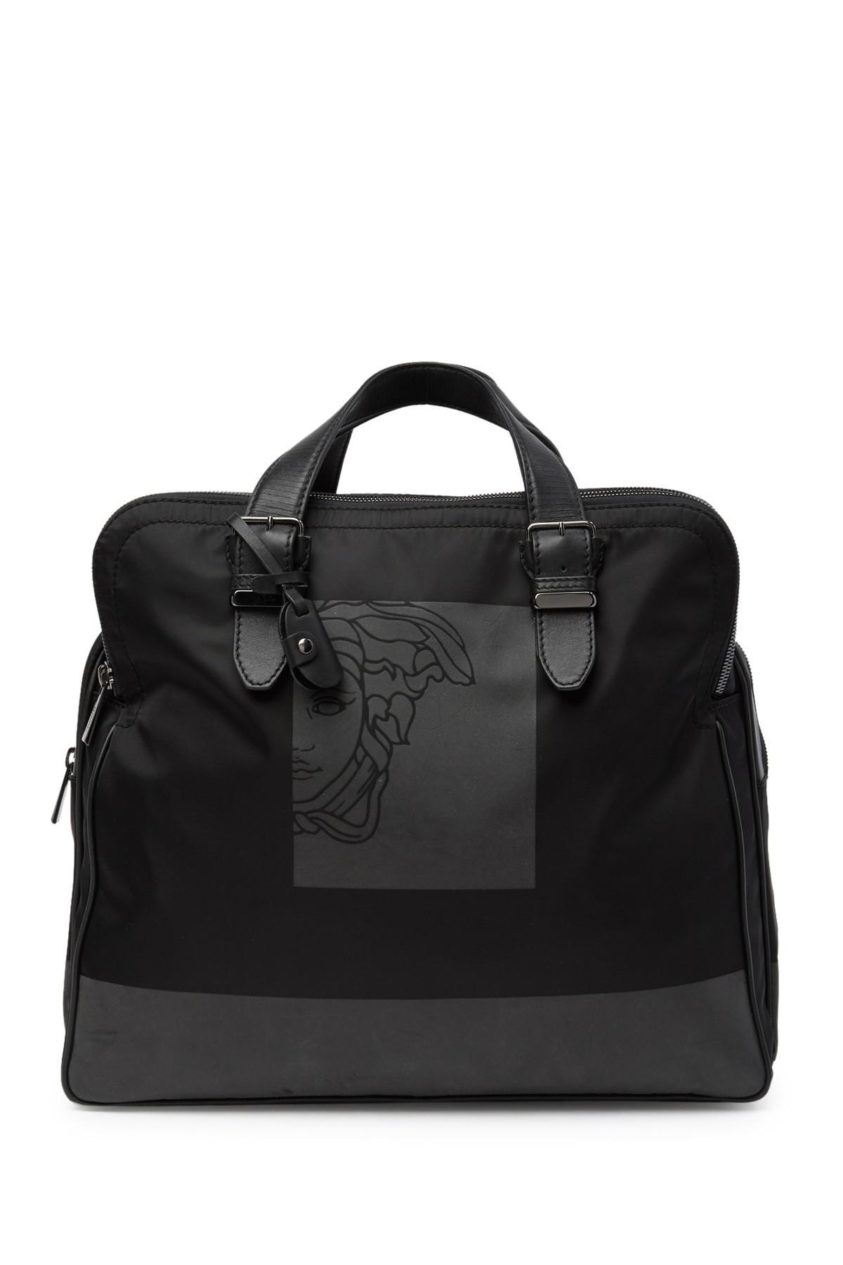 6cb028f2da1b Lyst - Versace Medusa Nylon   Leather Weekend Bag in Black for Men