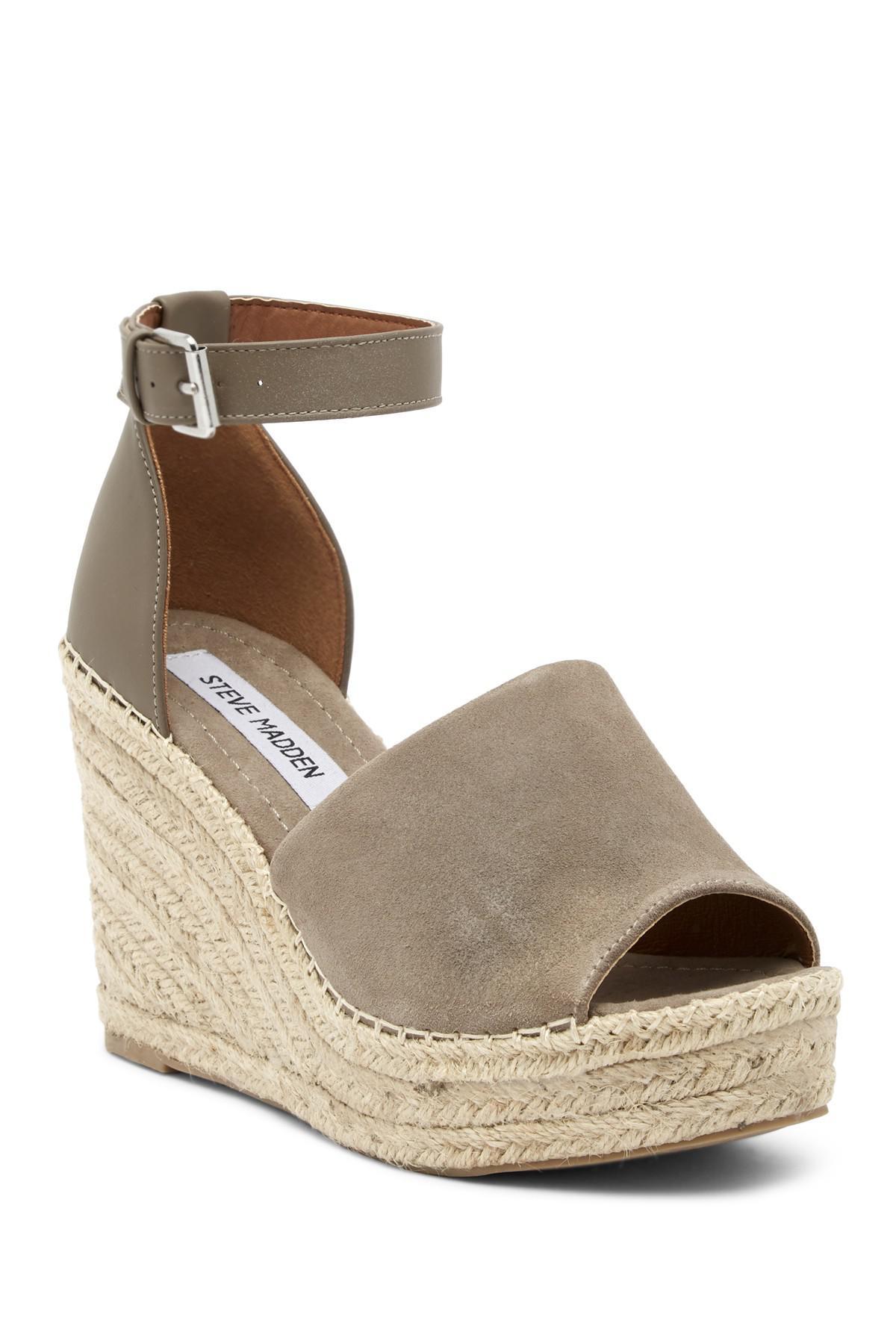 Steve Madden. Women's Brown Julian Ankle Strap Wedge Platform Sandal