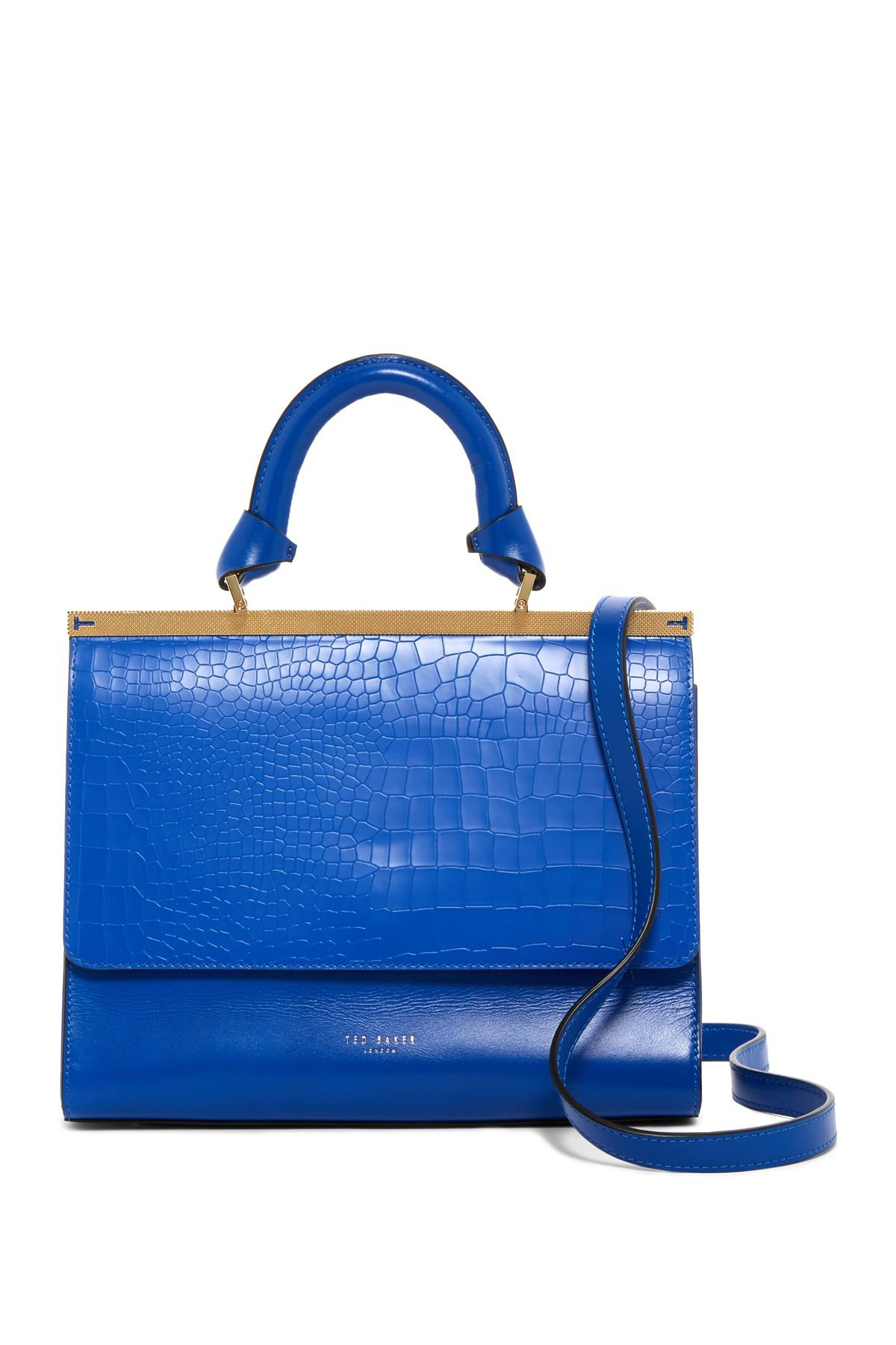 b0fa6d336933 Ted Baker Maven Croc Embossed Leather Satchel in Blue - Lyst