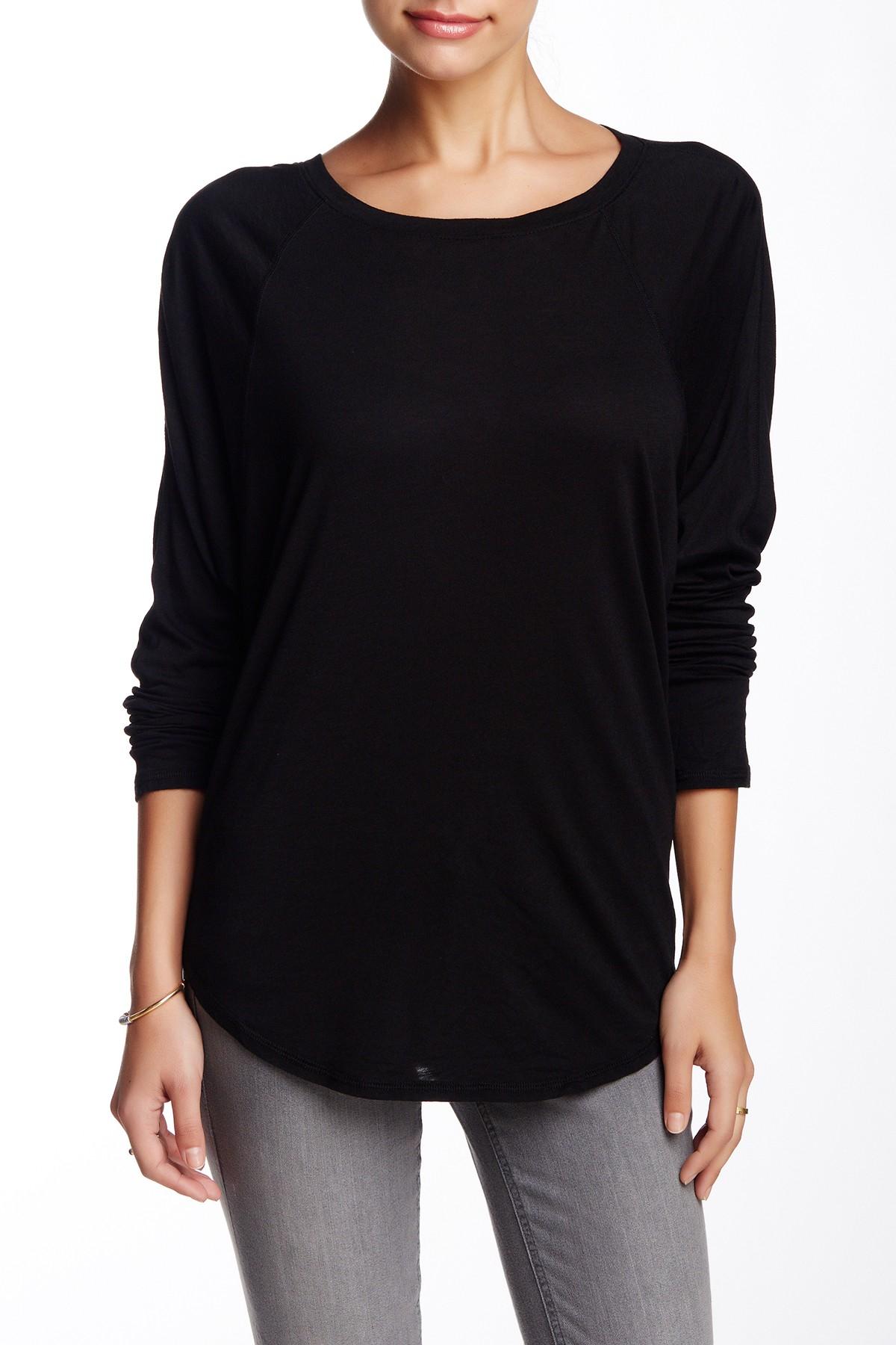 Michael stars raglan dolman tee in black lyst for Michael stars tee shirts