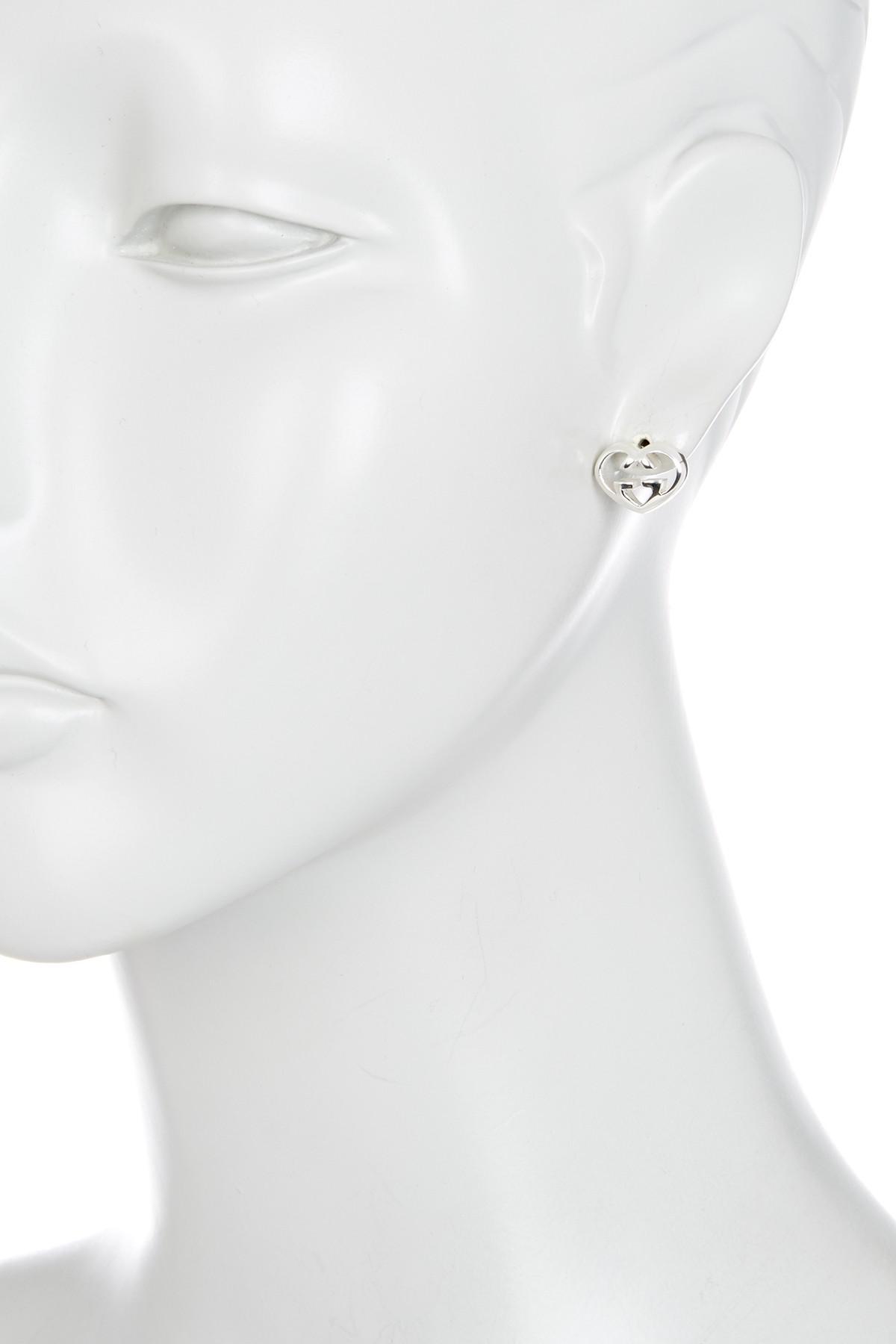 36b6e191b75 Lyst Gucci Sterling Silver Love Heart Stud Earrings In Metallic