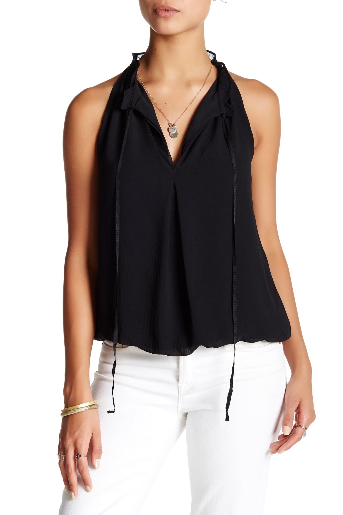 Max Studio Sleeveless Bubble Hem Blouse In Black Lyst