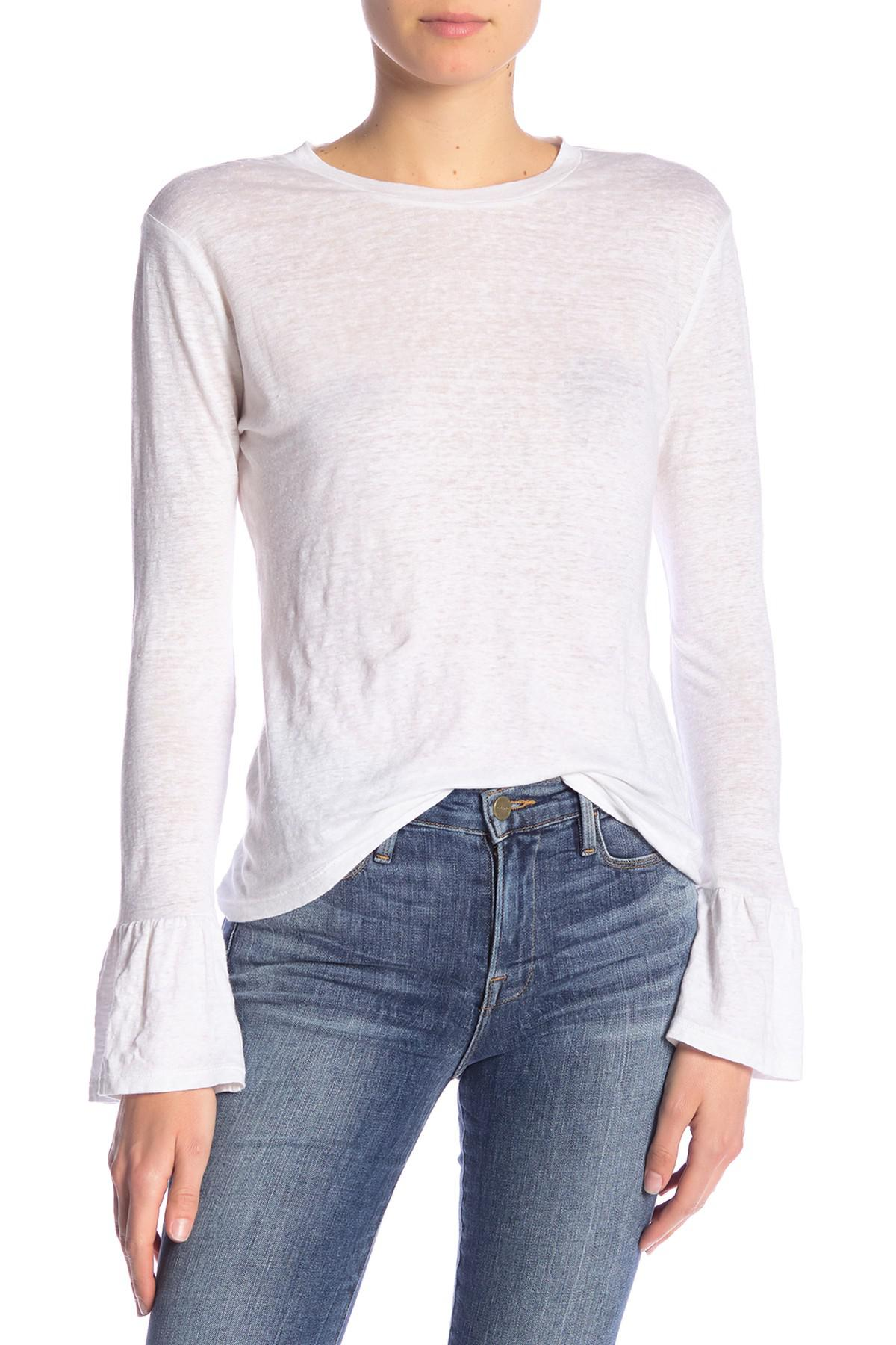 792cbe9427b FRAME Ruffle Cuff Long Sleeve Linen Shirt in White - Lyst