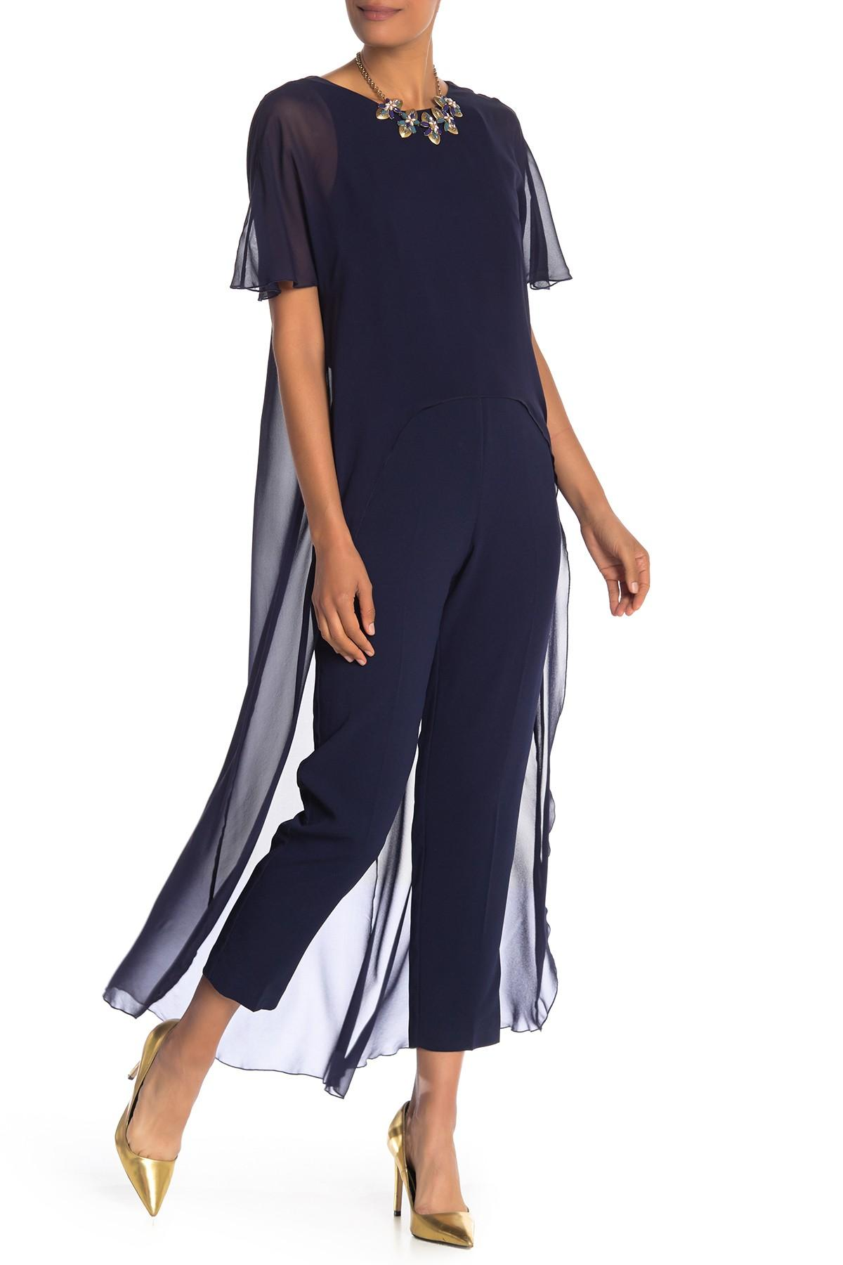 fbf1c60eca63 Lyst - Trina Turk Capote Silk Overlay Jumpsuit in Blue