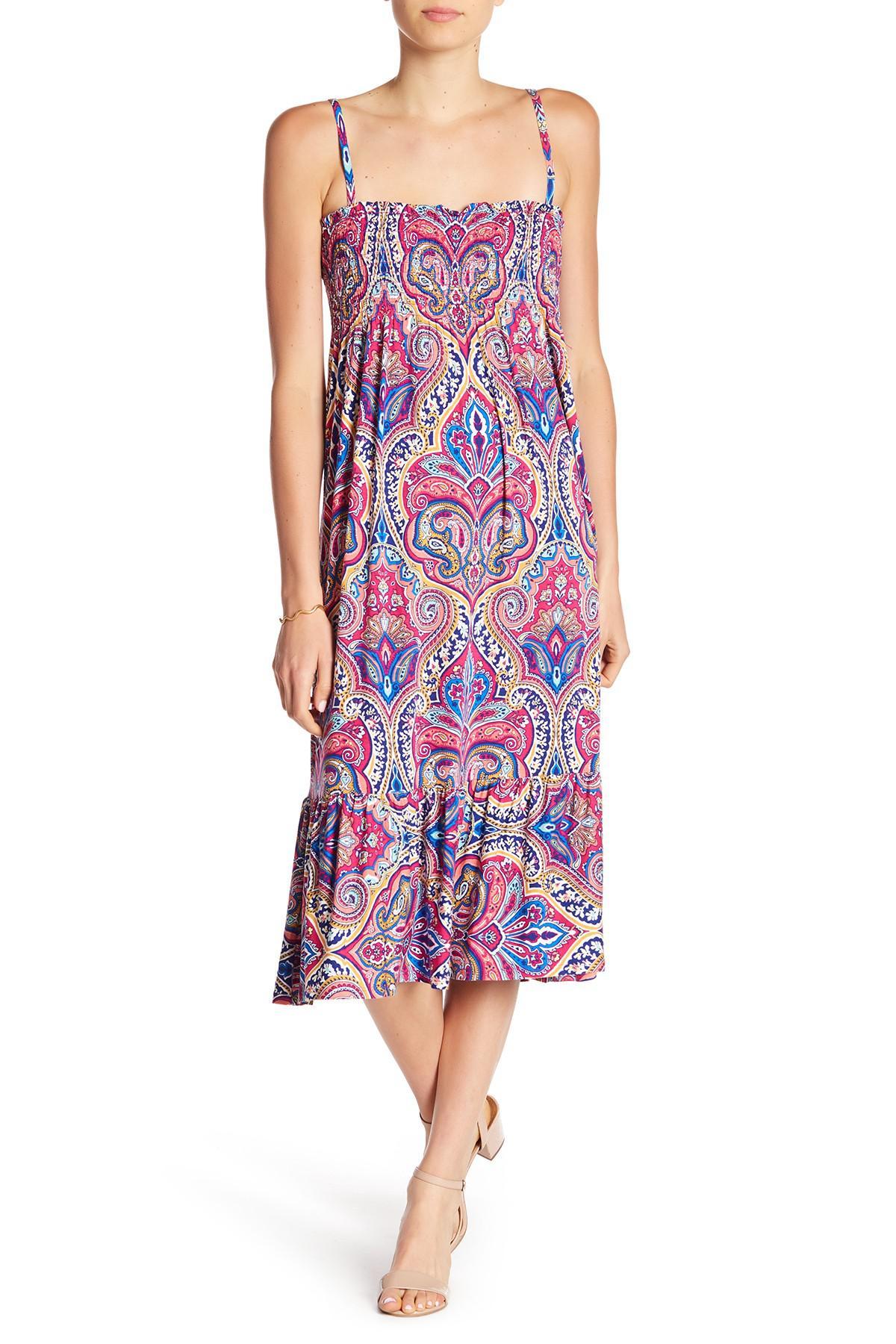 1d3d1047 Nicole Miller Smocked Print Dress - Lyst