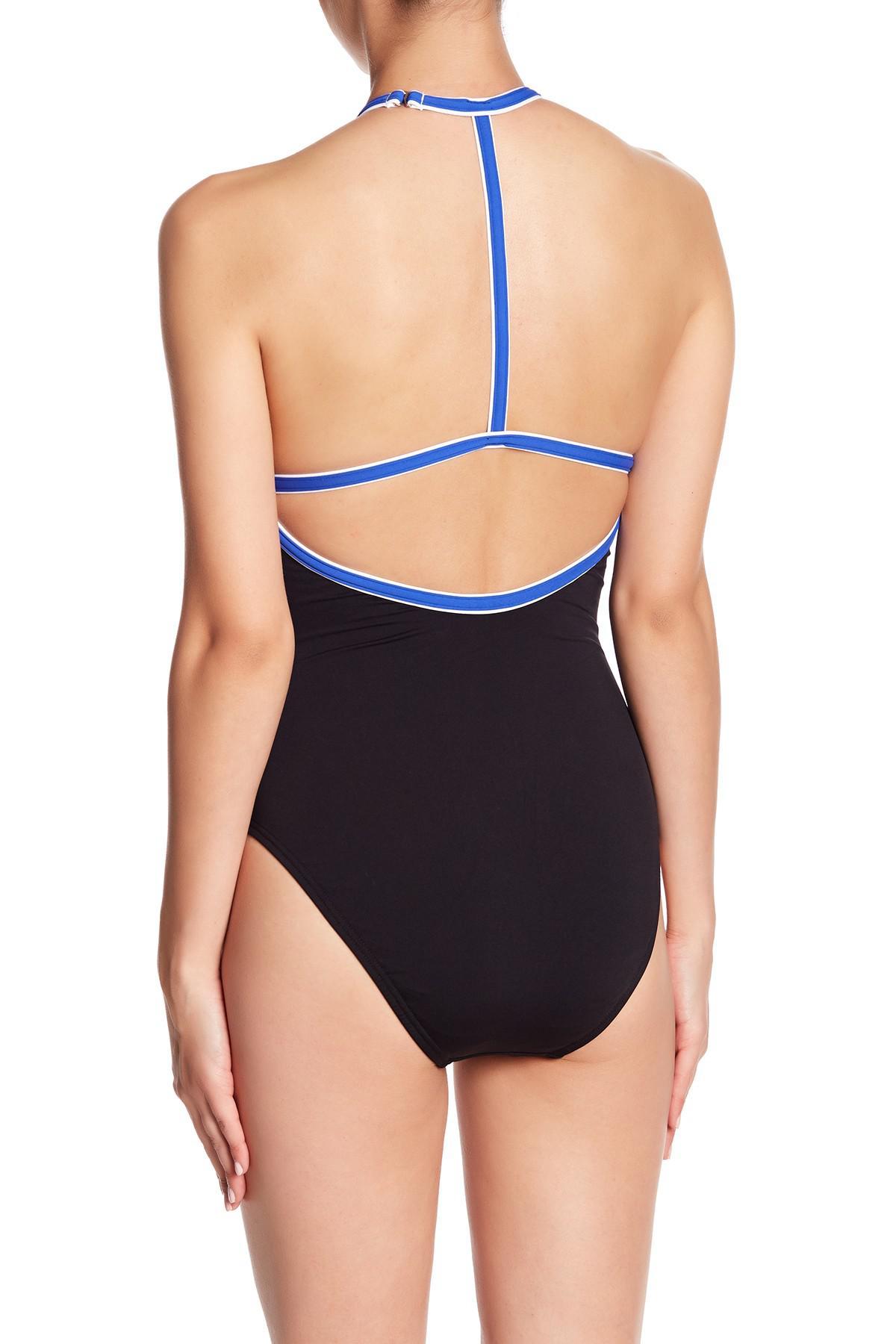 15c3f1f2e4 Lyst - Nautica High Neck Retro Stripe One-piece Swimsuit