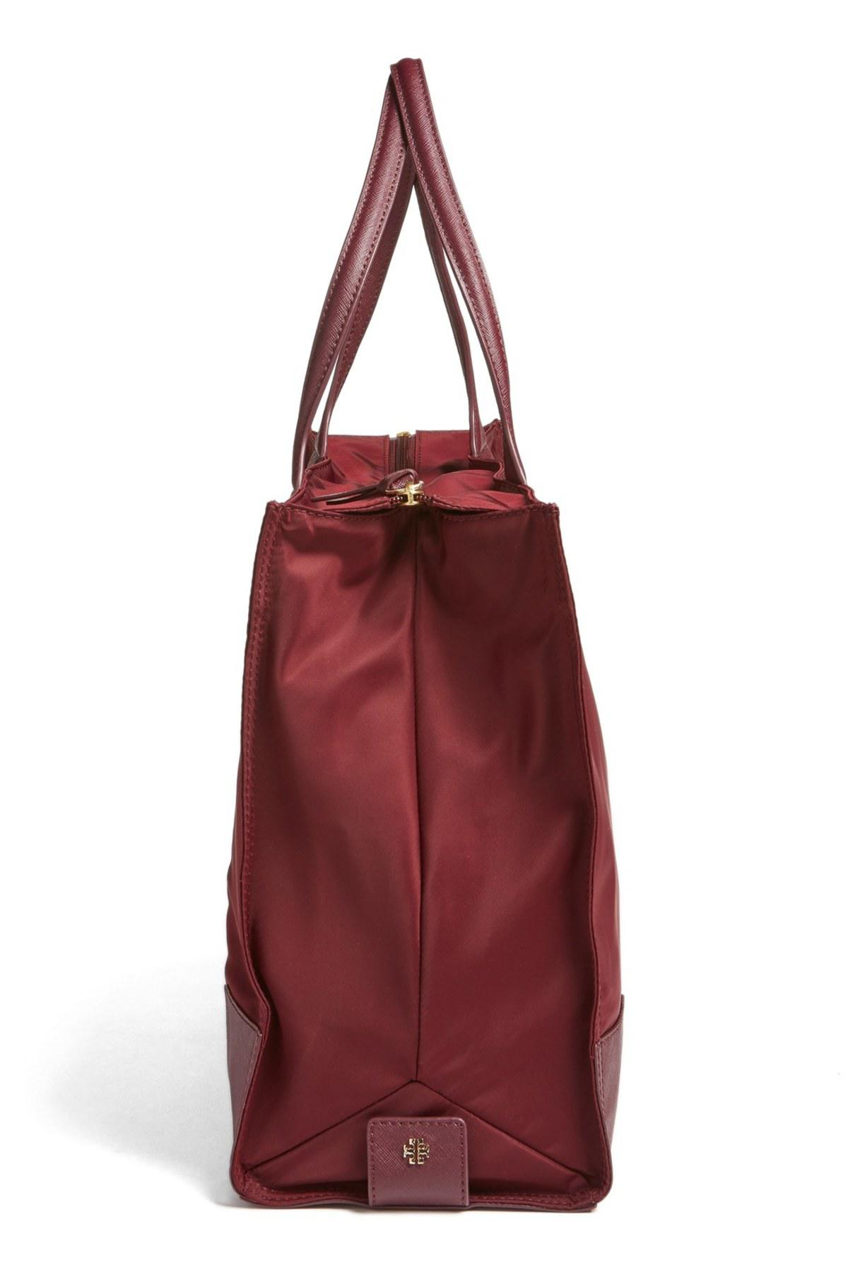 8bb90b120b341 Lyst - Tory Burch  ella  Packable Nylon Tote - Burgundy in Red