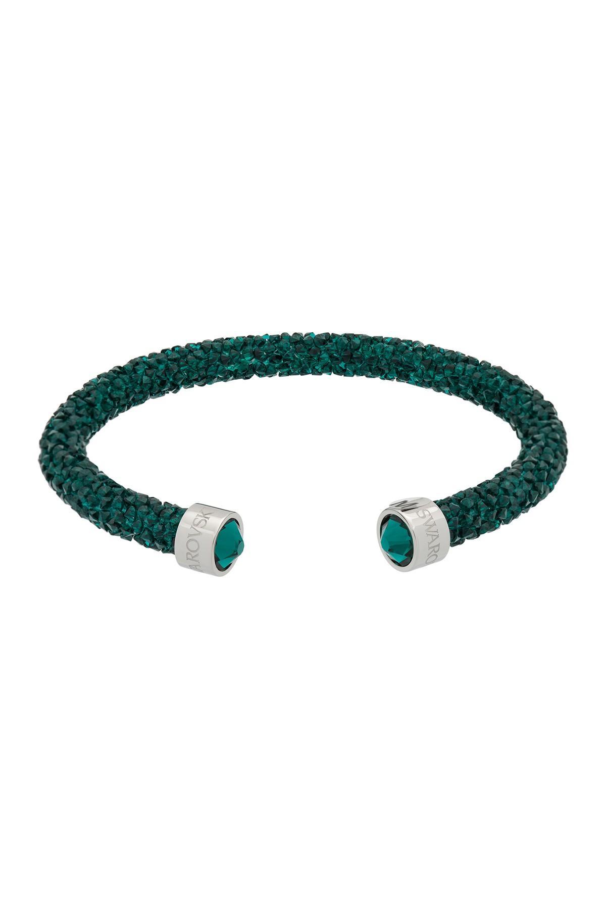 c157b934301 Swarovski. Women's Green Crystaldust Rolled Crystal Rock Encrusted Cuff  Bracelet
