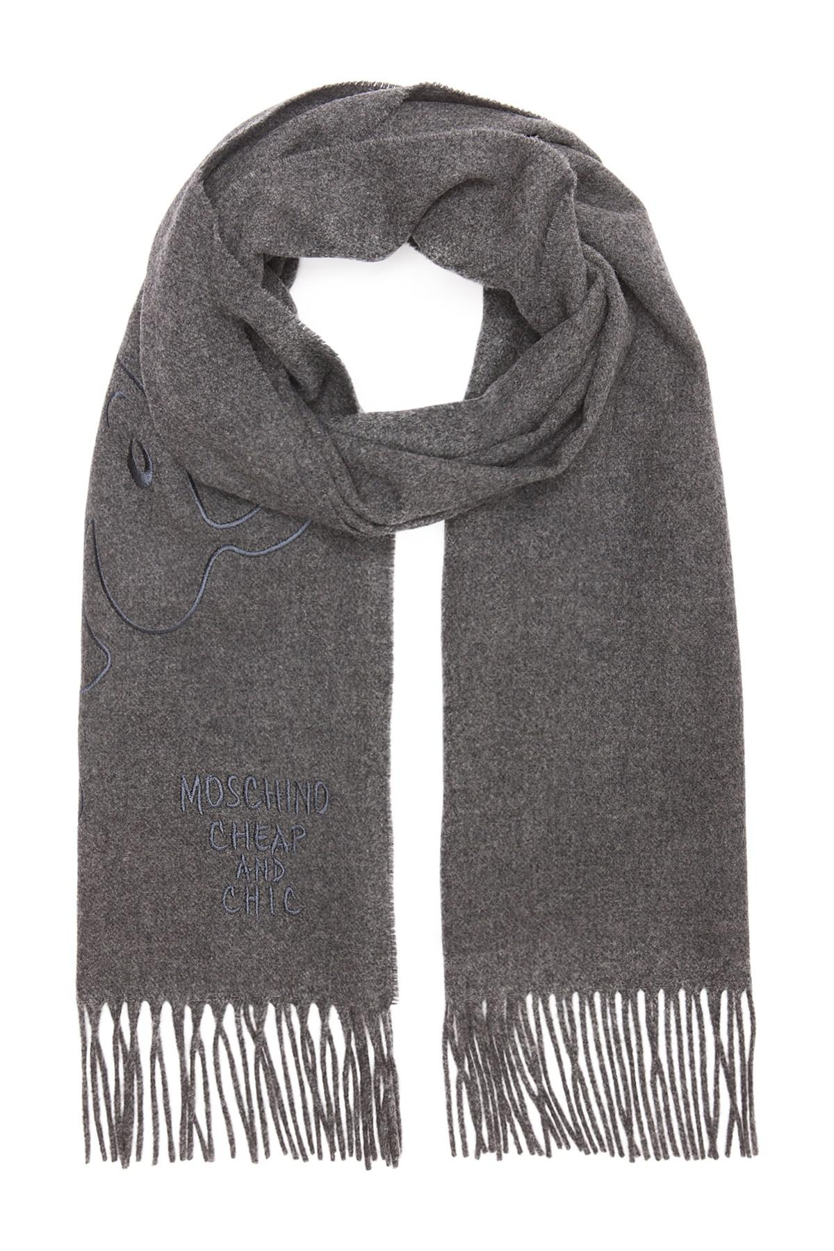 a5b2621a7b Moschino Olive Oil Embroidery Wool Scarf in Gray - Lyst